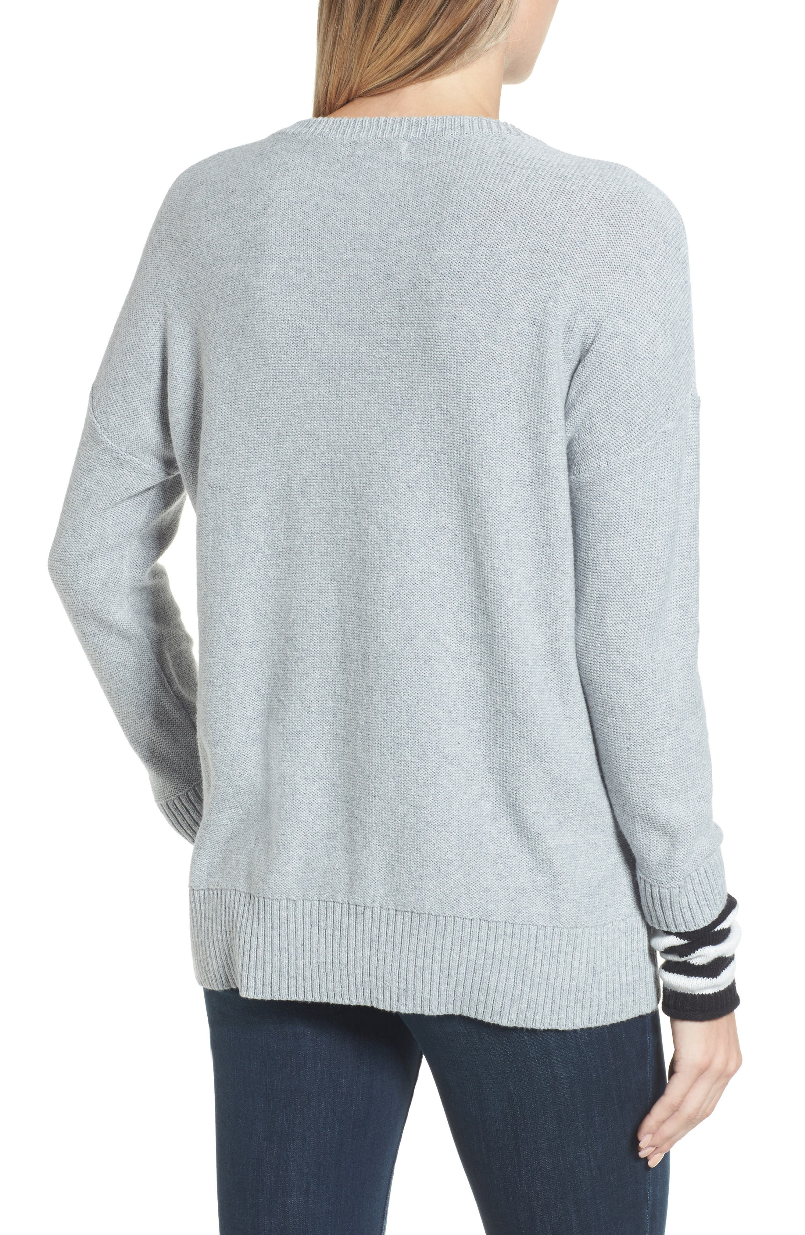 Contrast Cuff Crewneck Sweater,                             Alternate thumbnail 2, color,                             030