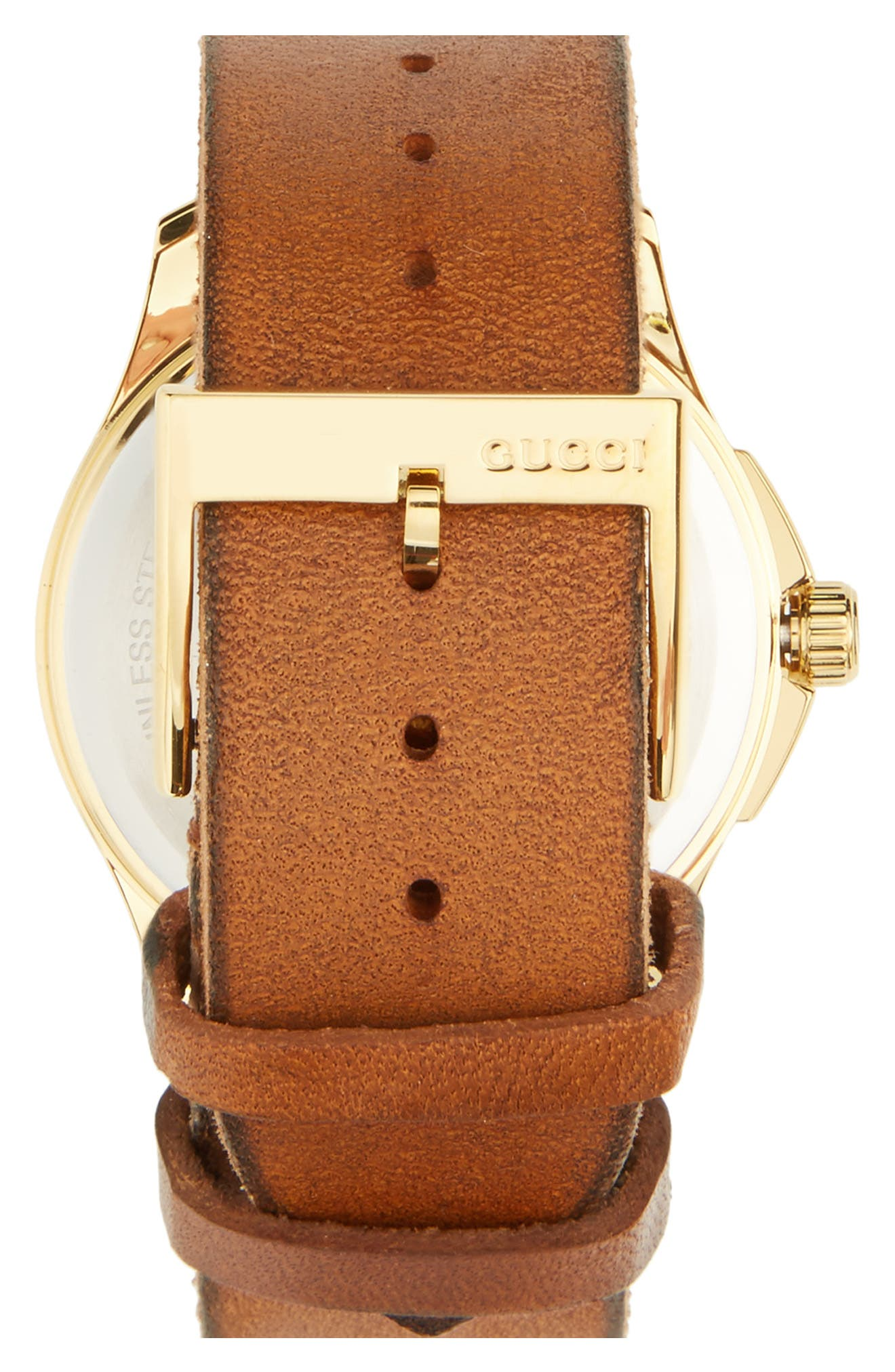 Bee Insignia Leather Strap Watch, 43mm,                             Alternate thumbnail 2, color,                             BROWN