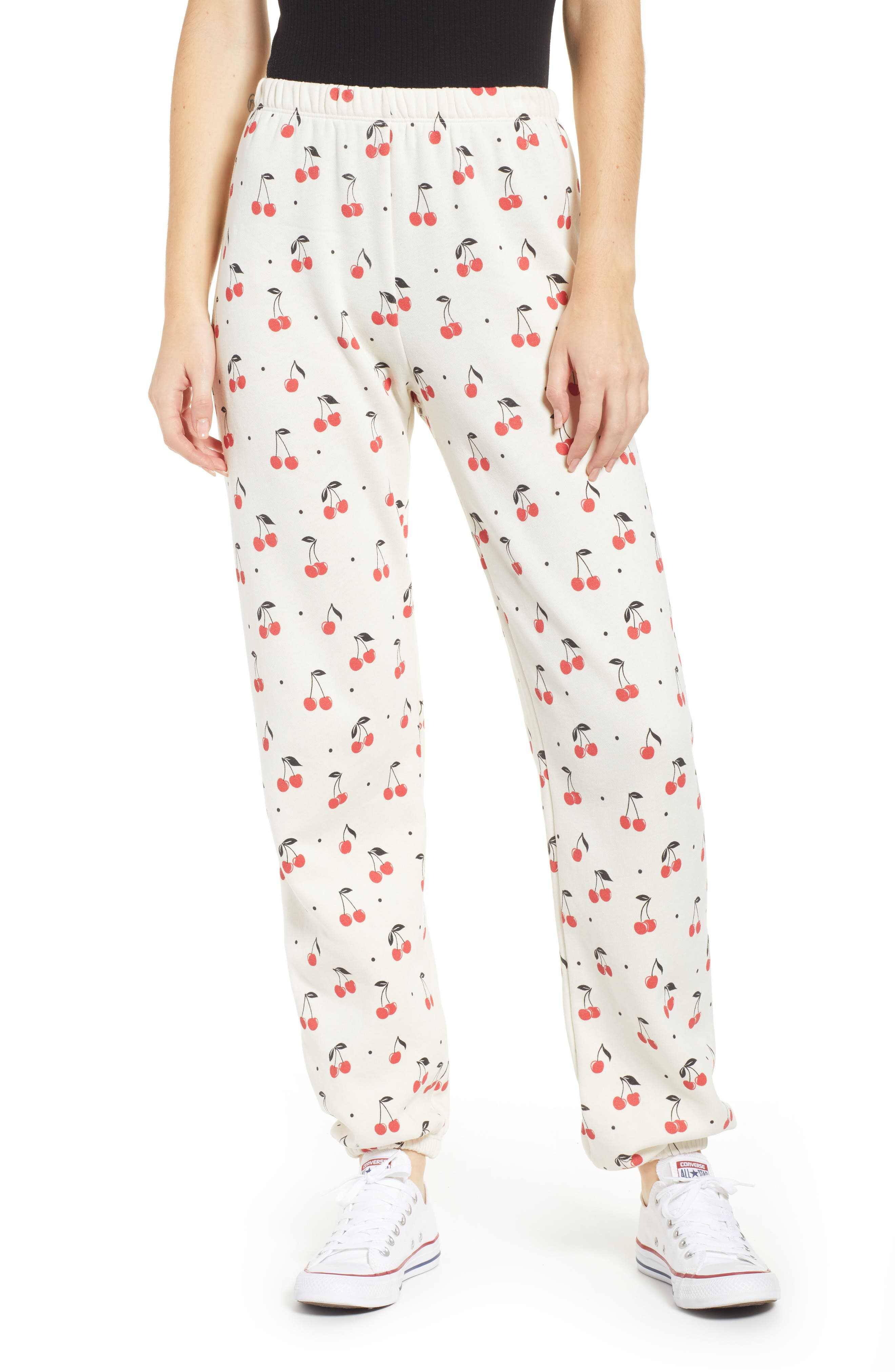 WILDFOX Cherry Oh Baby Easy Sweatpants, Main, color, VINTAGE LACE
