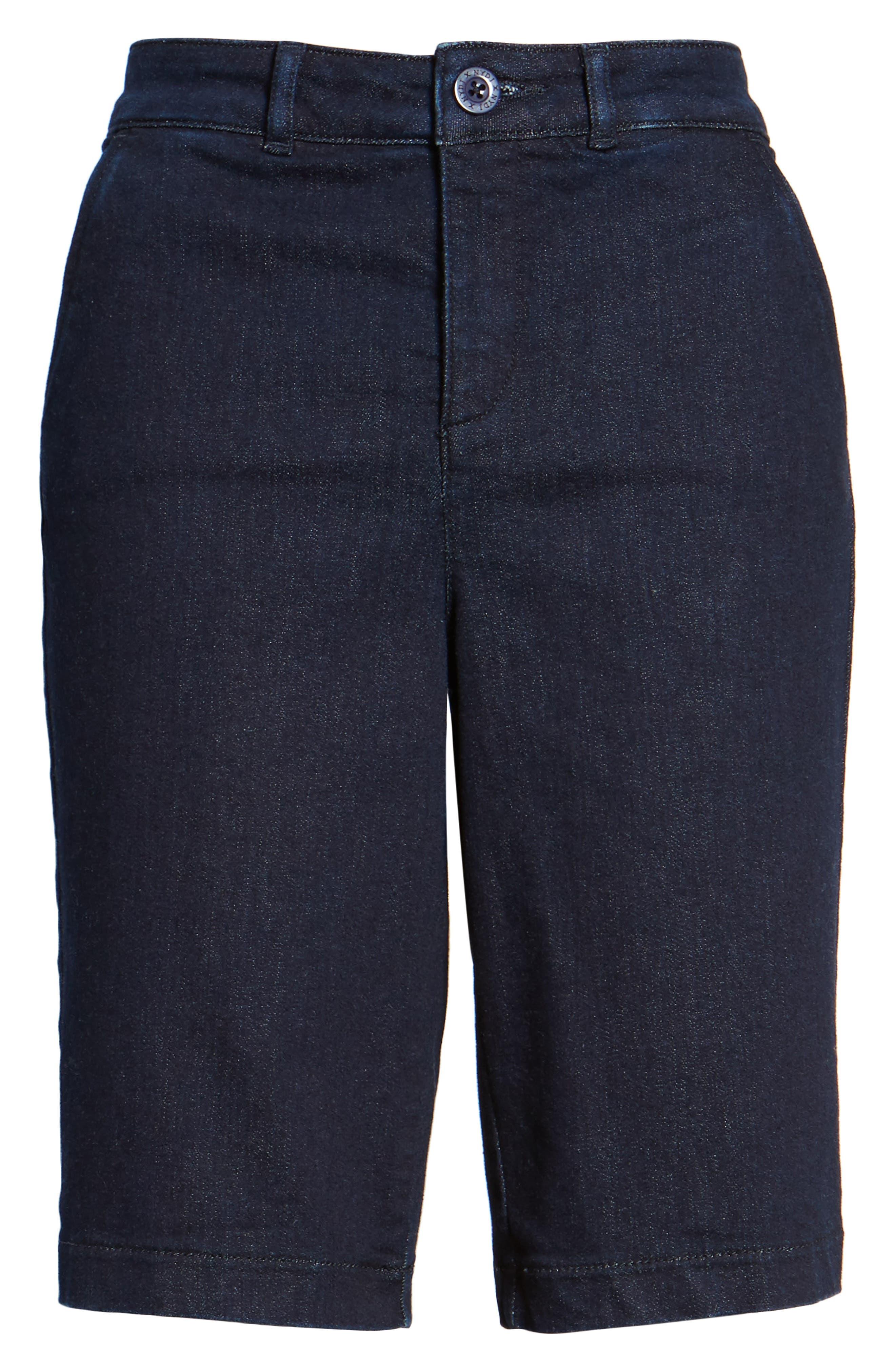 Marilyn Stretch Denim Bermuda Shorts,                             Alternate thumbnail 6, color,                             RINSE