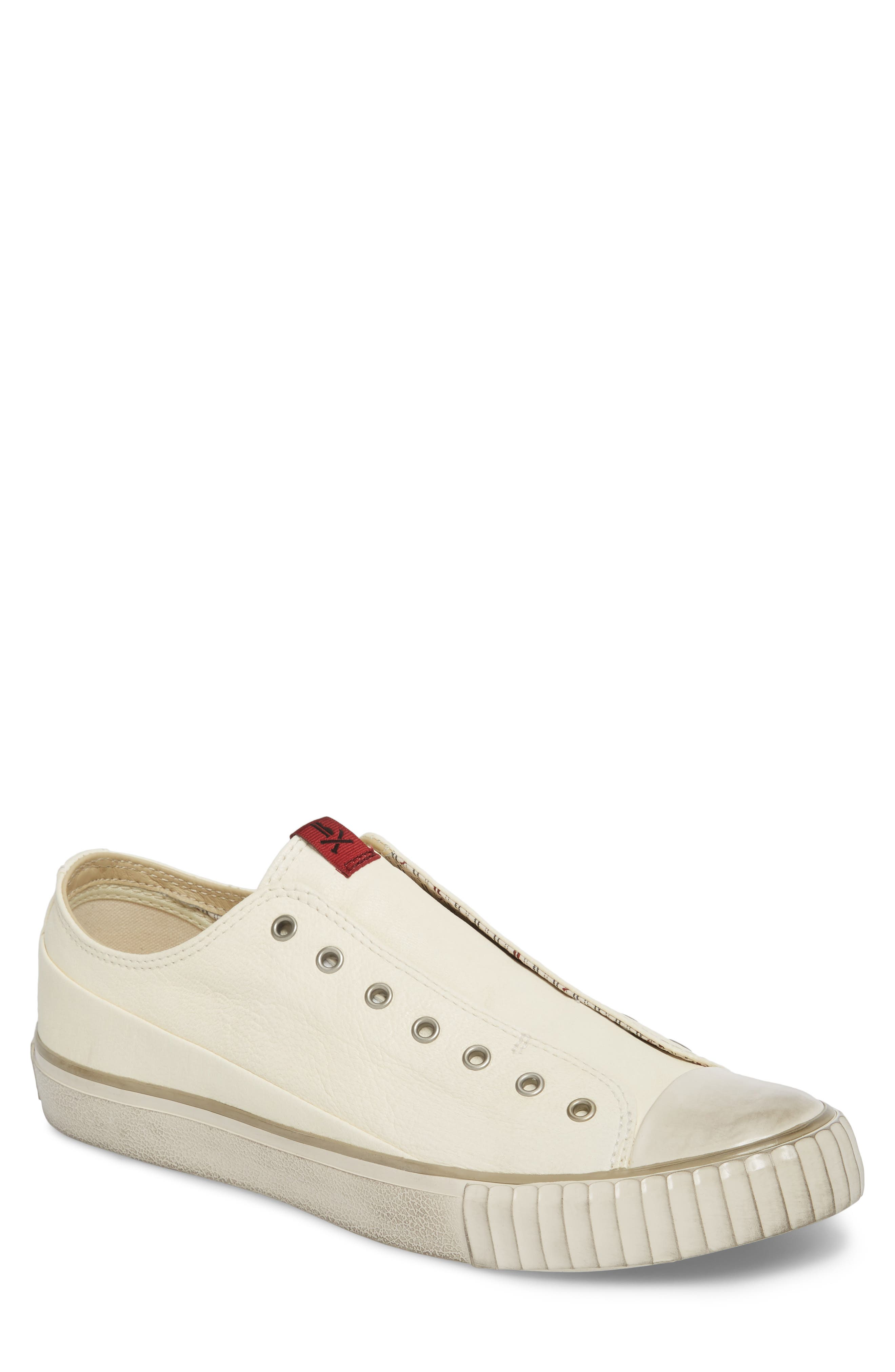 Laceless Low Top Sneaker,                         Main,                         color, WHITE LEATHER