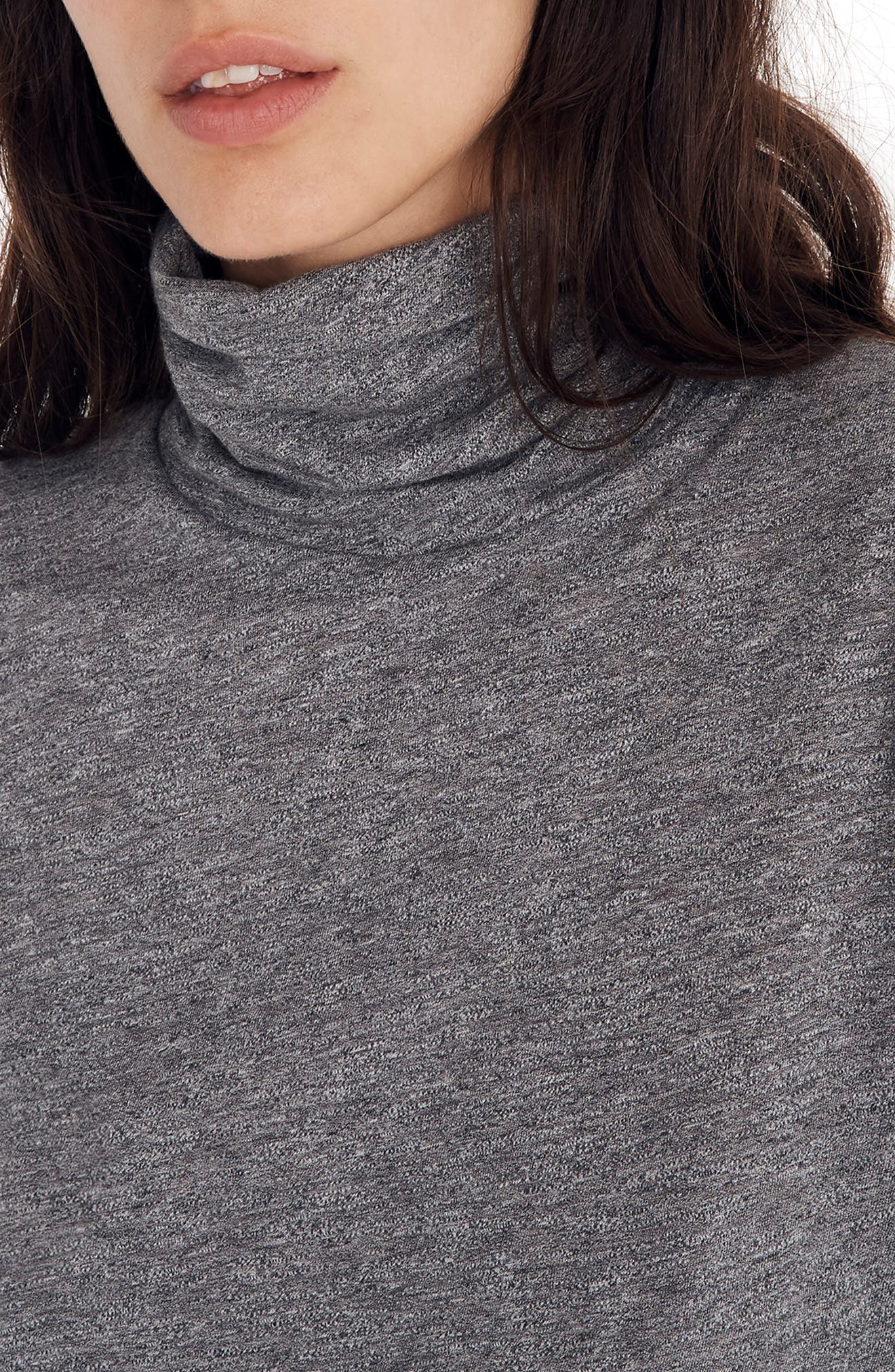 Whisper Cotton Turtleneck Top,                             Alternate thumbnail 5, color,                             HEATHER MERCURY