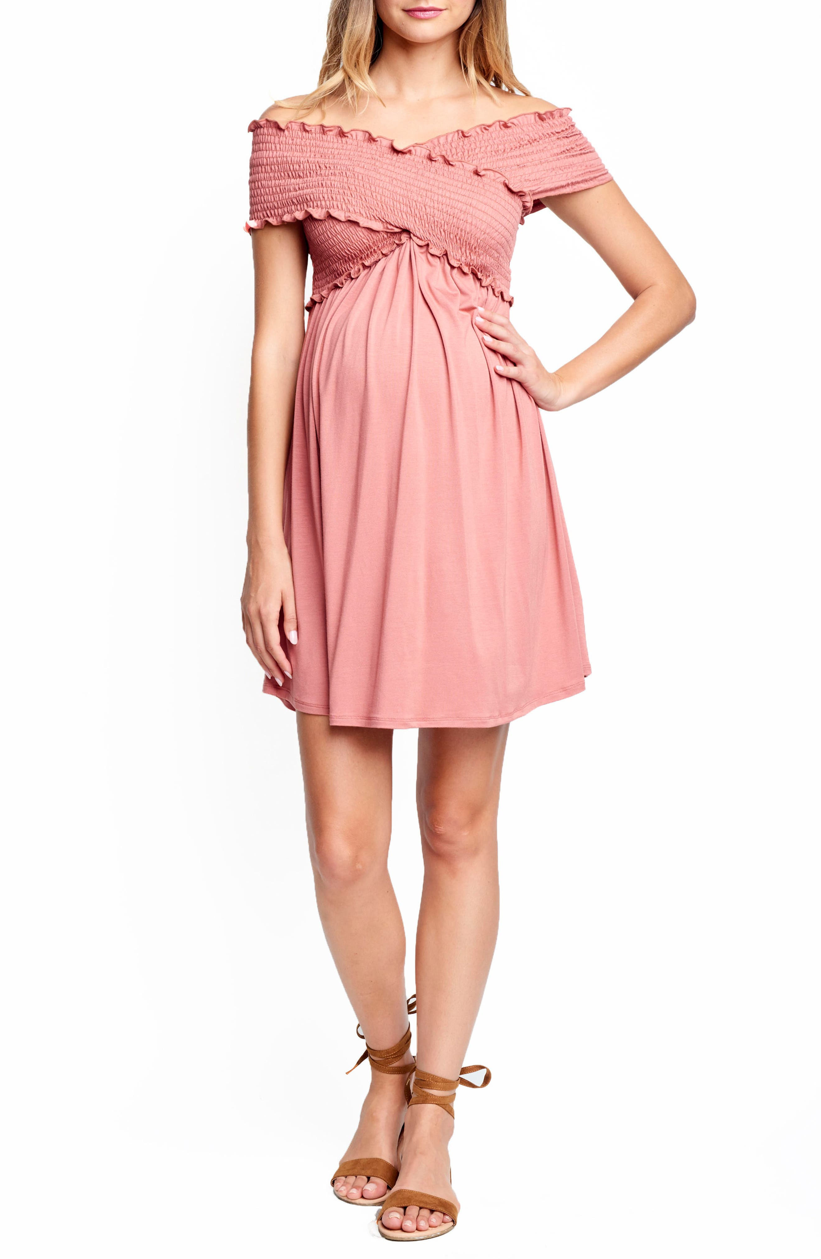 Maternal America Off The Shoulder Ribbed Maternity Dress, Coral