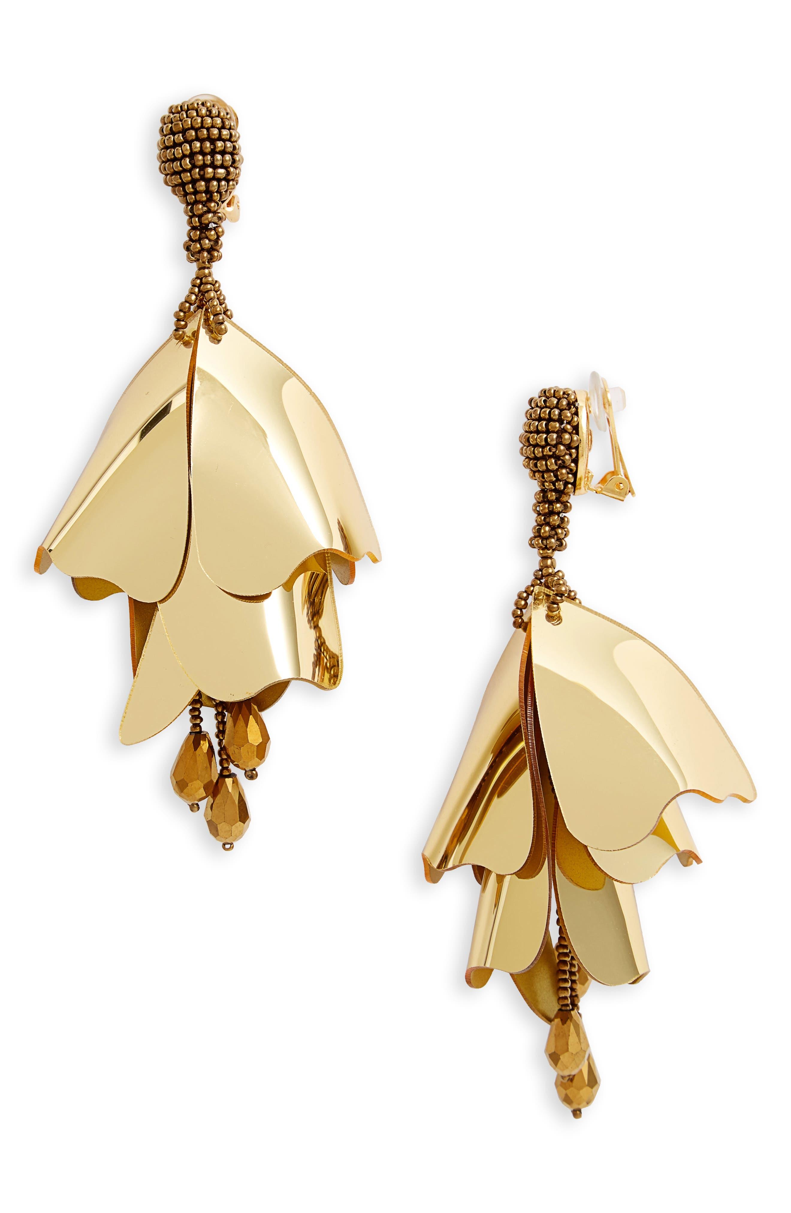 Large Impatiens Flower Clip Earrings,                             Main thumbnail 5, color,