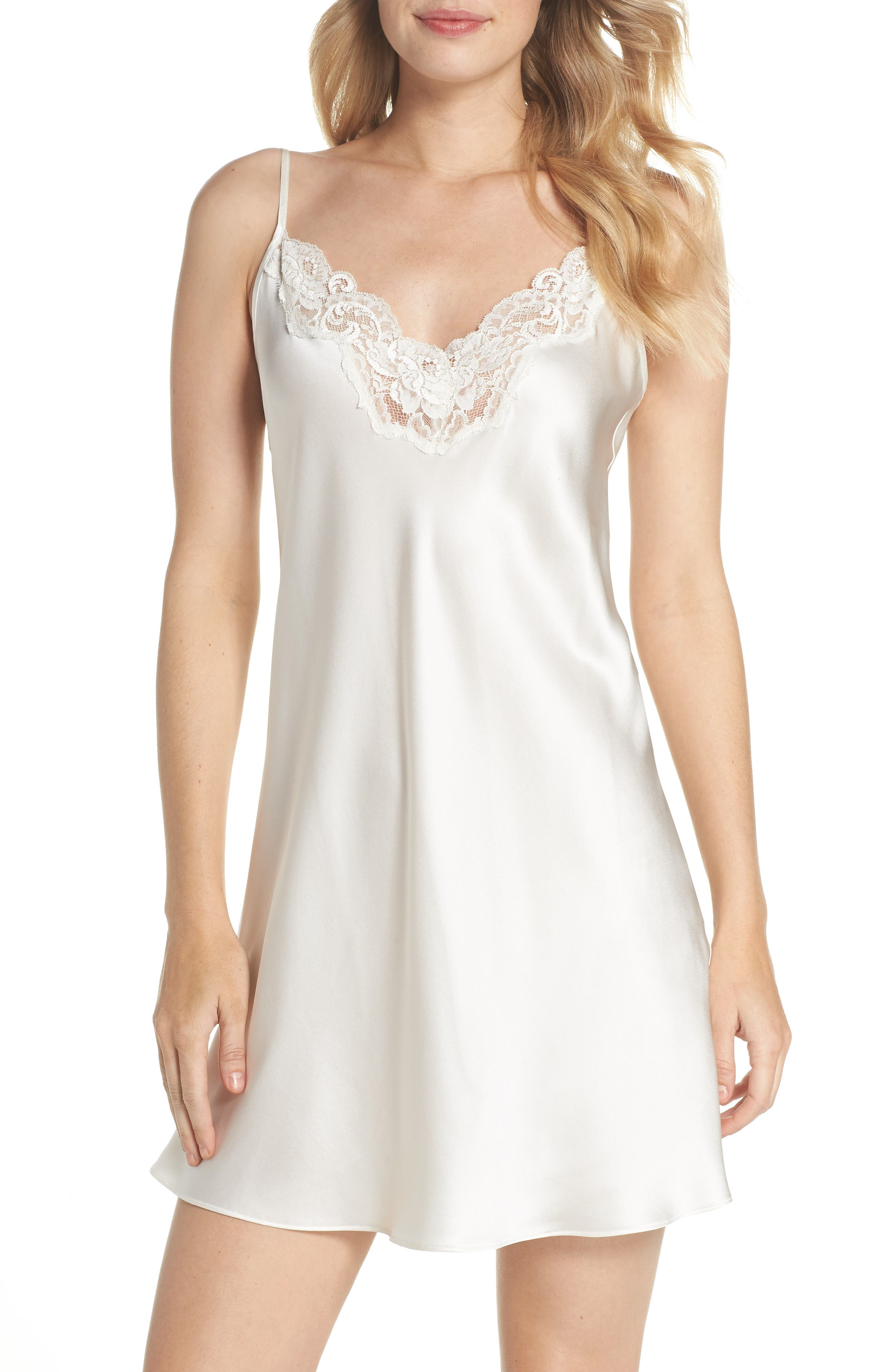 Lace Trim Silk Chemise,                         Main,                         color, PEARL / PEARL