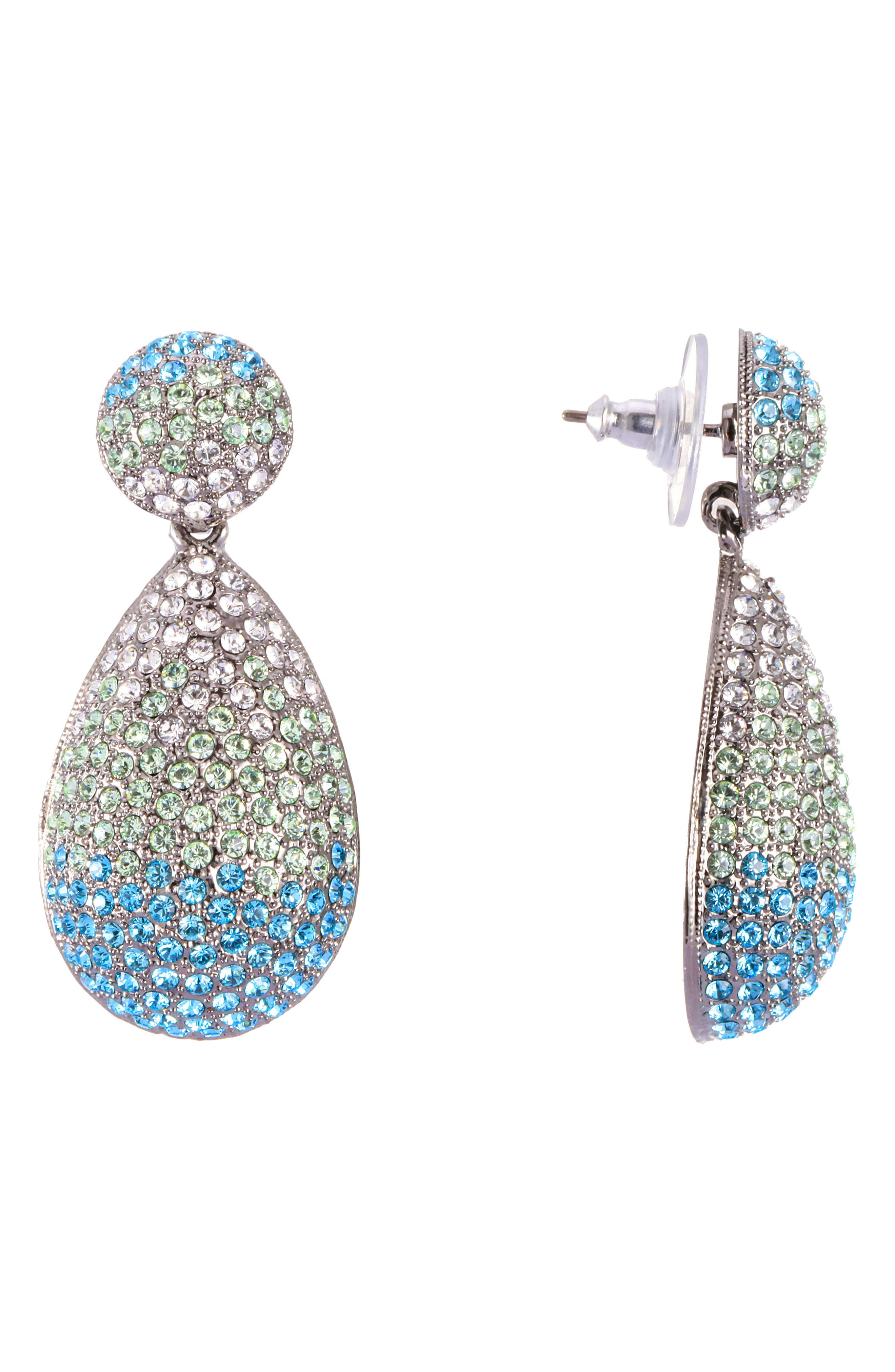 NINA Large Pavé Swarovski Crystal Teardrop Drop Earrings, Main, color, AQUA/ SILVER