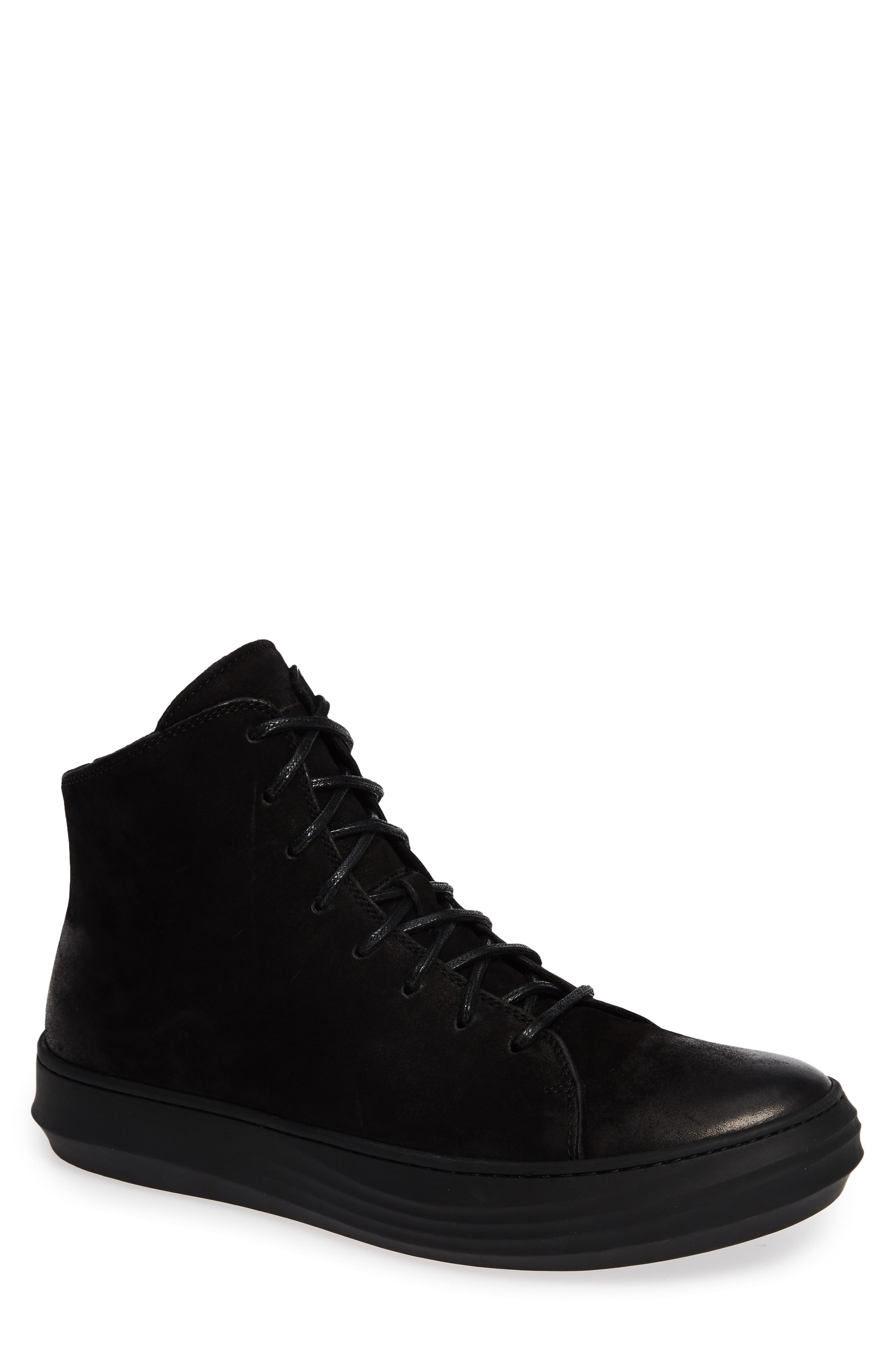 High Top Sneaker,                             Main thumbnail 1, color,                             BLACK LEATHER