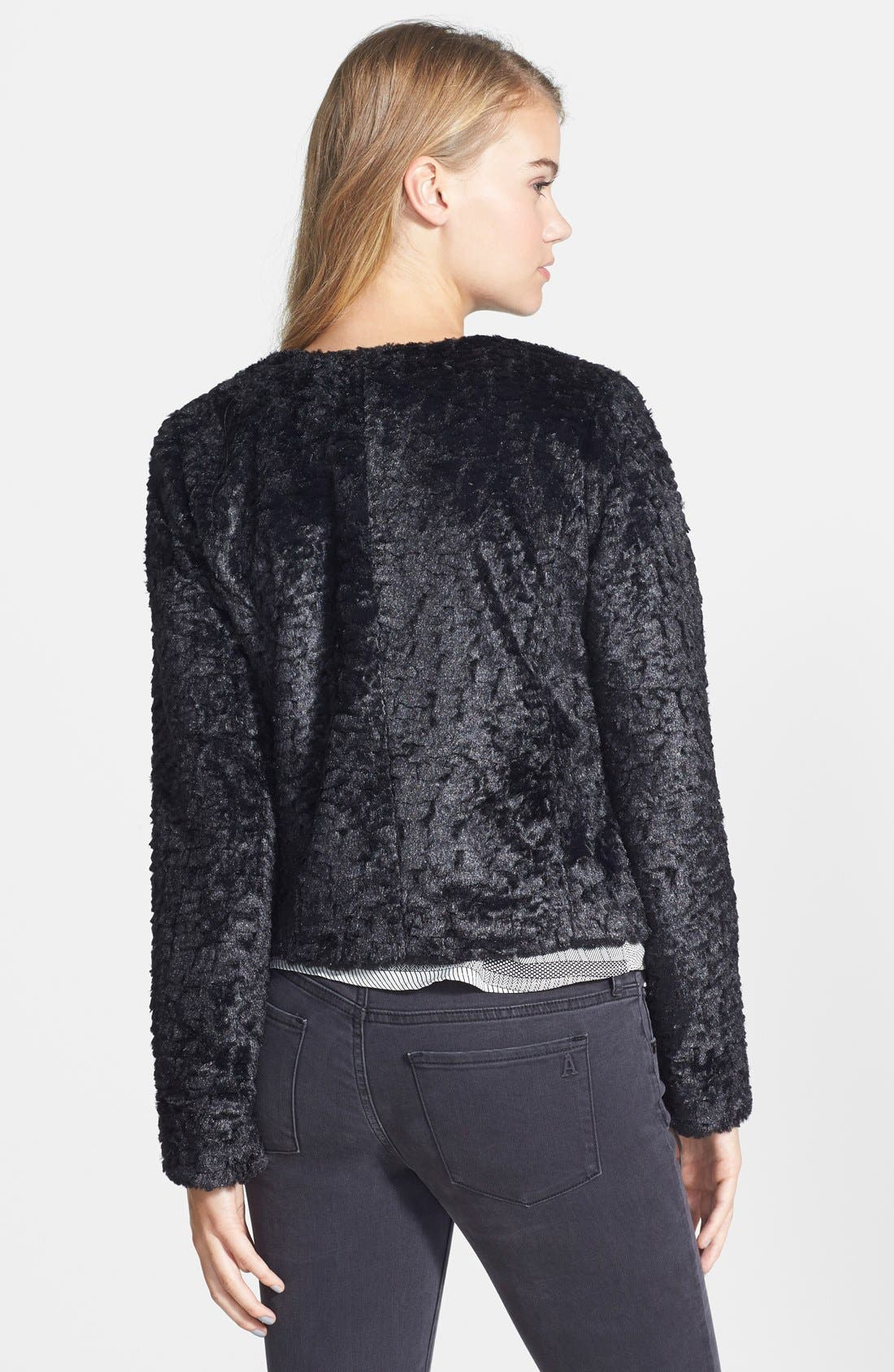 Faux Fur Crop Jacket,                             Alternate thumbnail 3, color,                             001