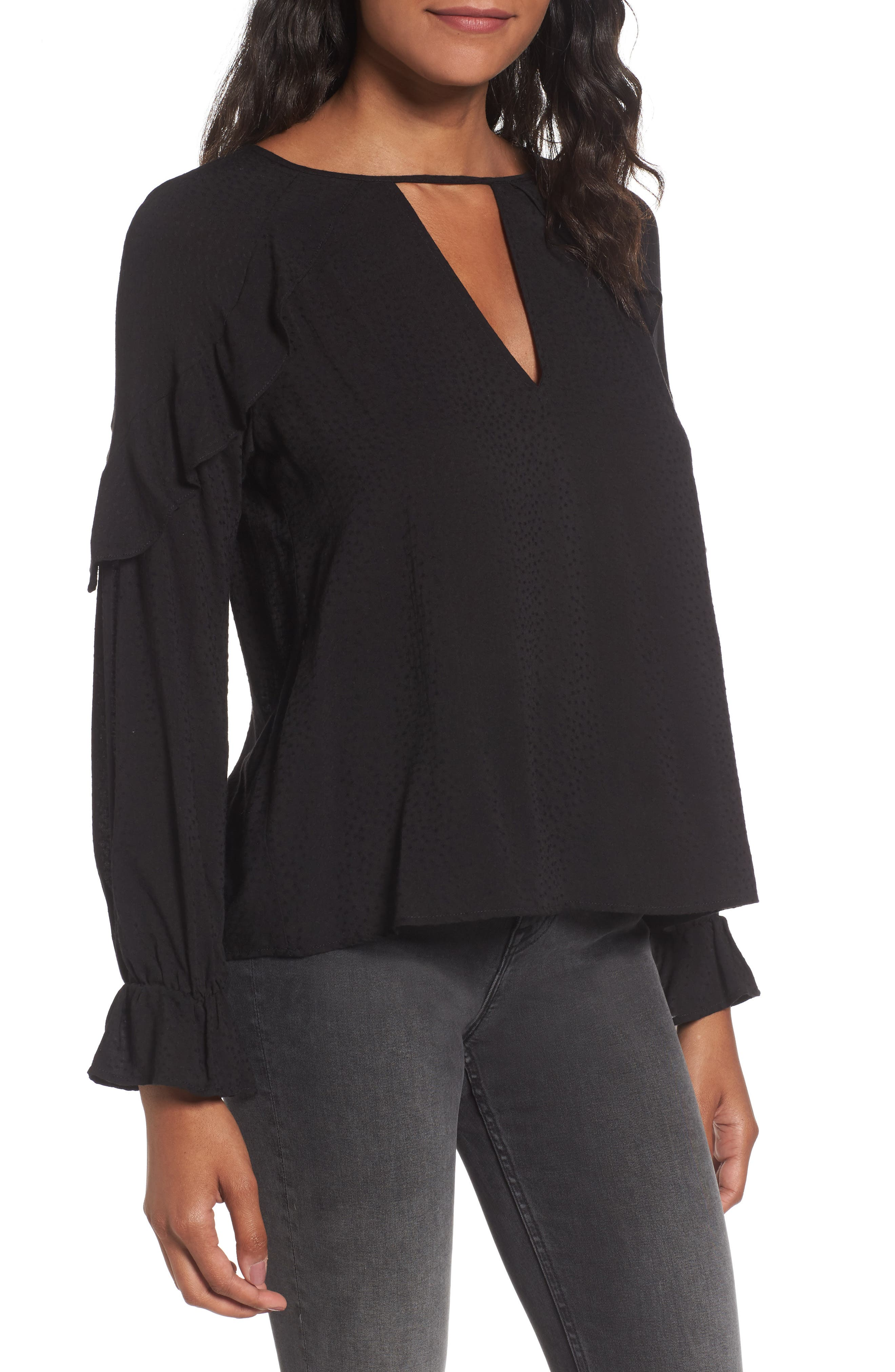 Textured Ruffle Blouse,                         Main,                         color, 001