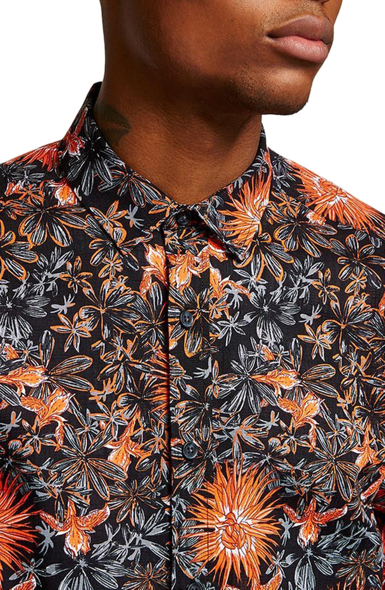 Floral Print Shirt,                             Alternate thumbnail 3, color,                             800