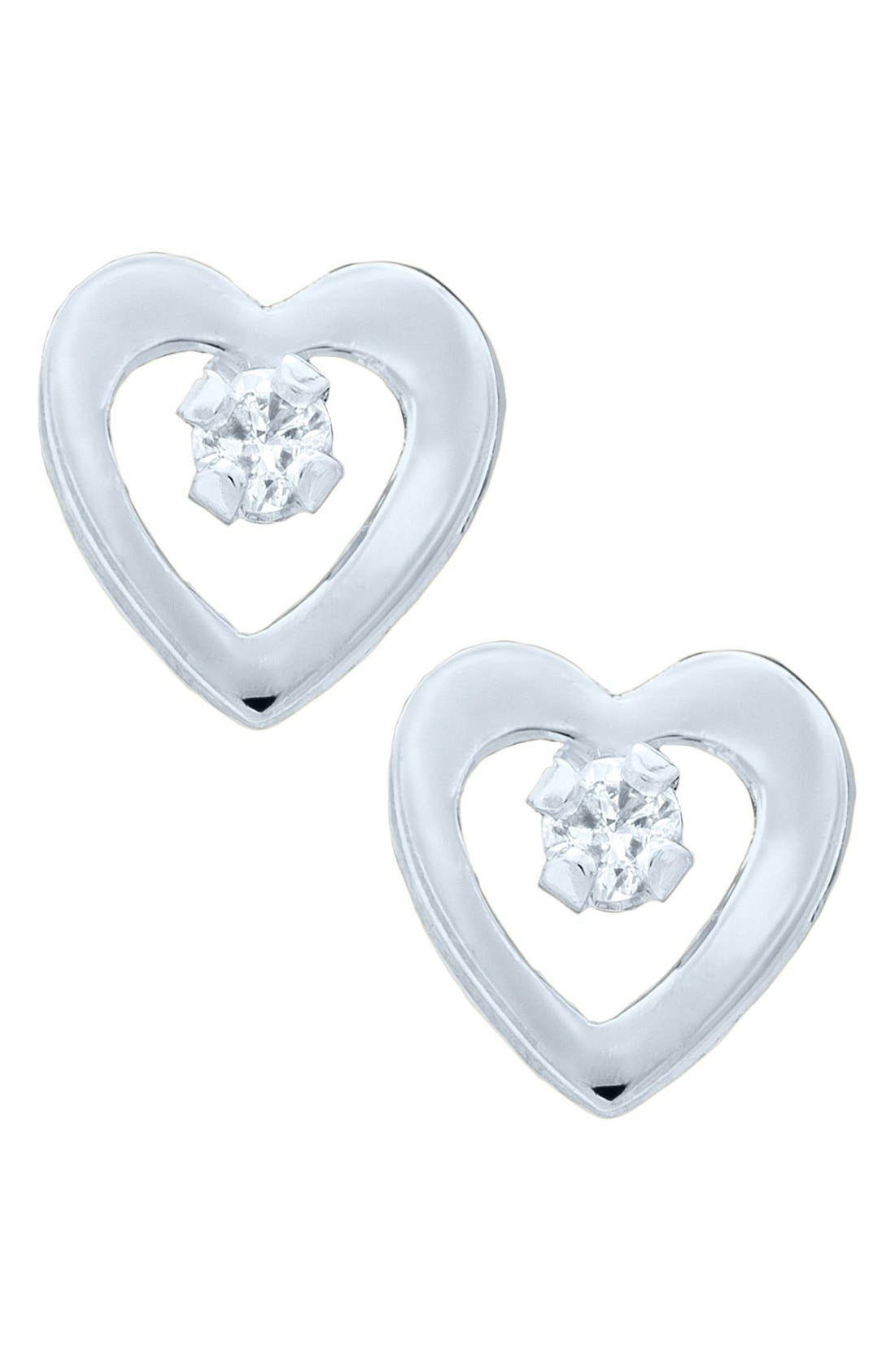 14k White Gold & Diamond Heart Earrings,                             Main thumbnail 1, color,                             SILVER