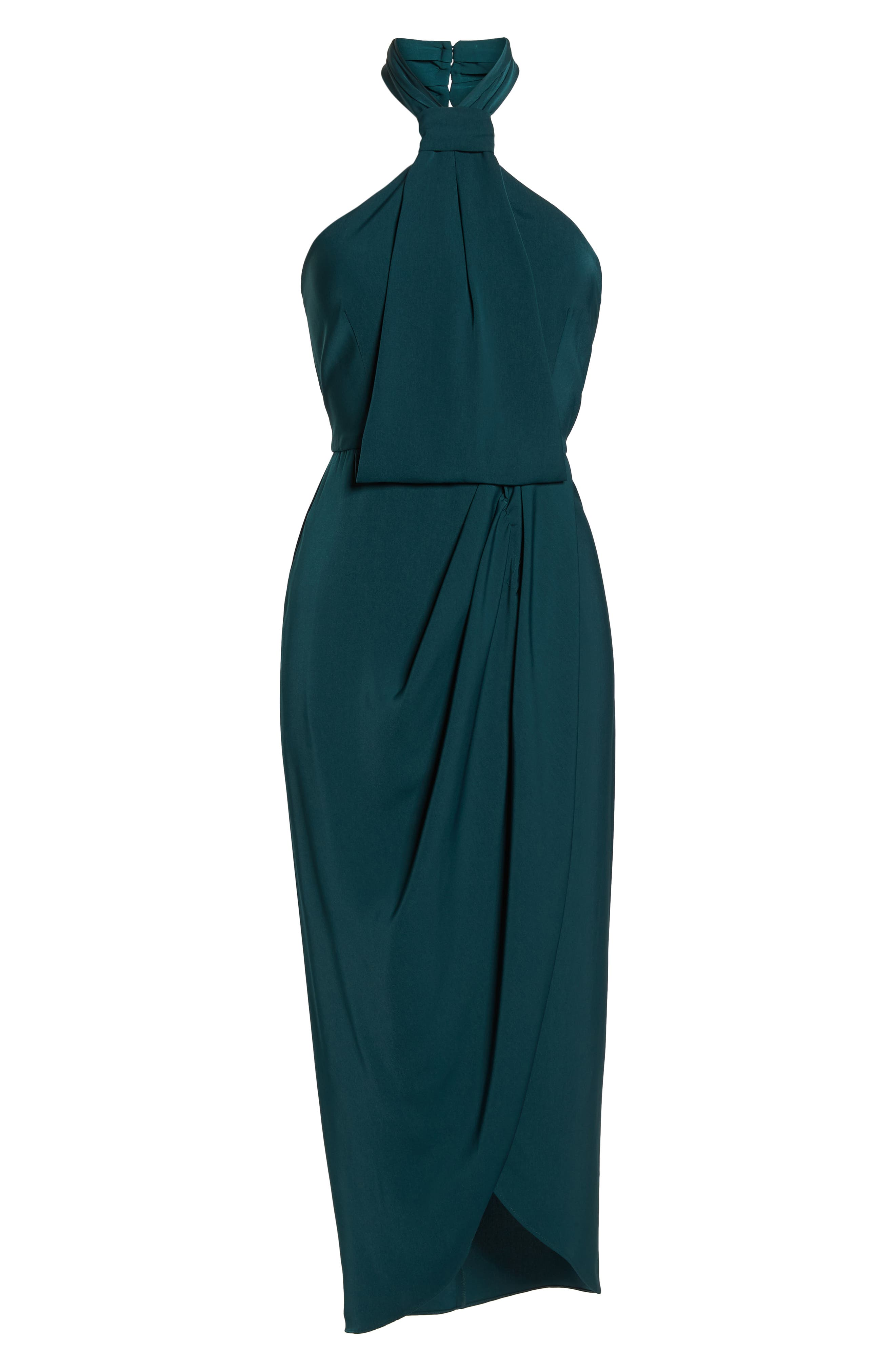 Knotted Tulip Hem Midi Dress,                             Alternate thumbnail 7, color,                             SEAWEED