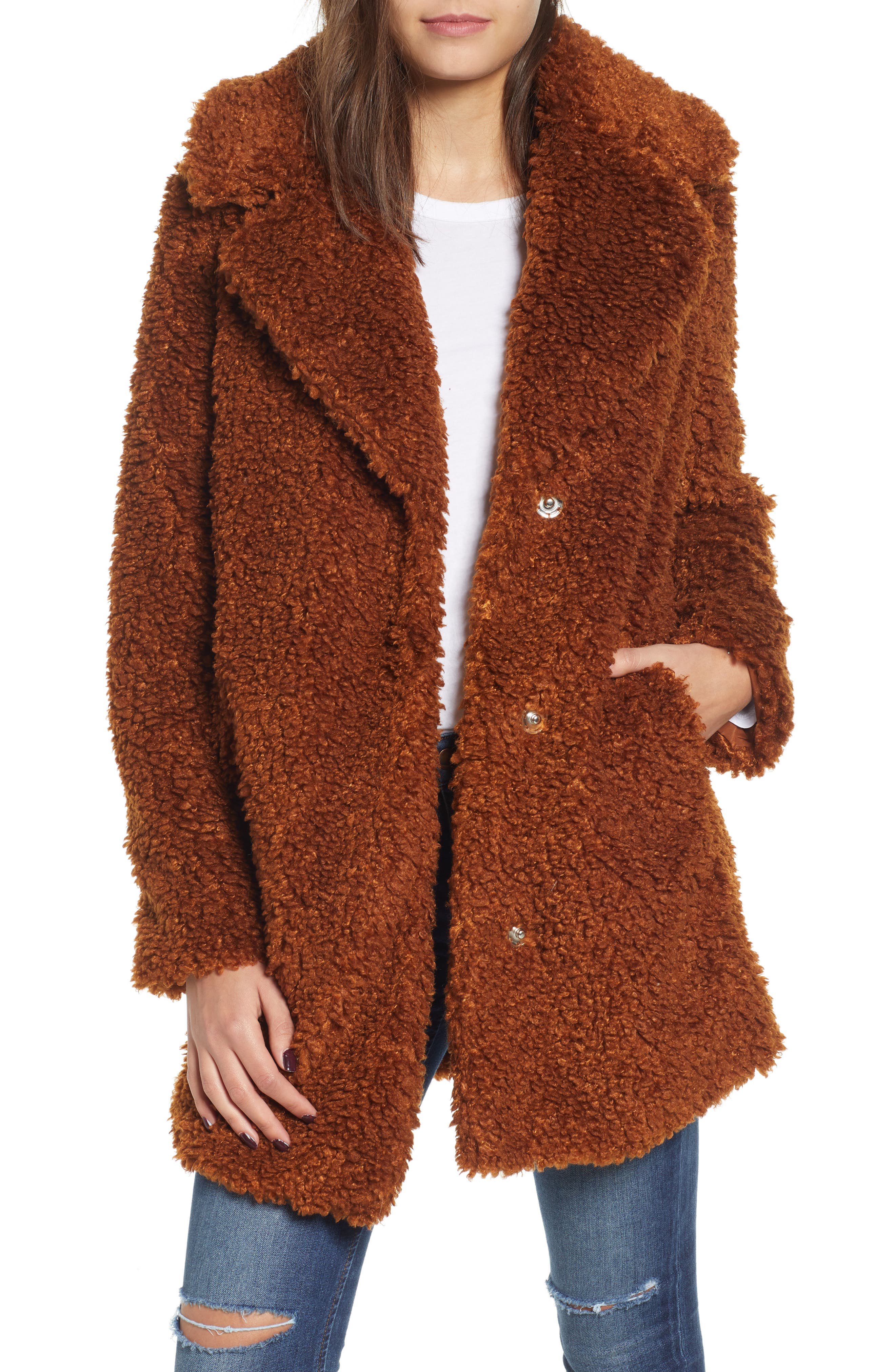 Faux Shearling Coat, Main, color, RUST