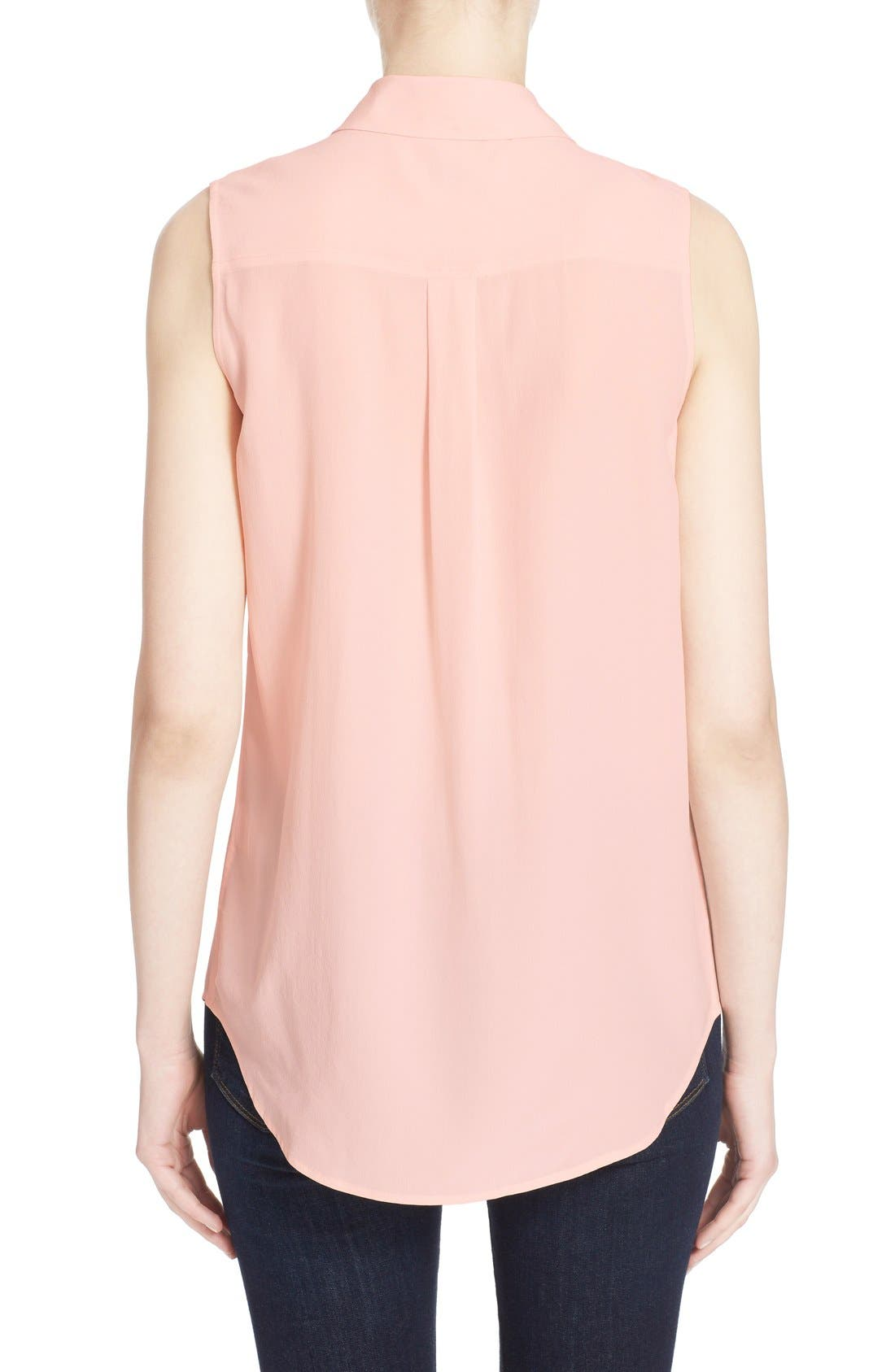 'Slim Signature' Sleeveless Silk Shirt,                             Alternate thumbnail 88, color,