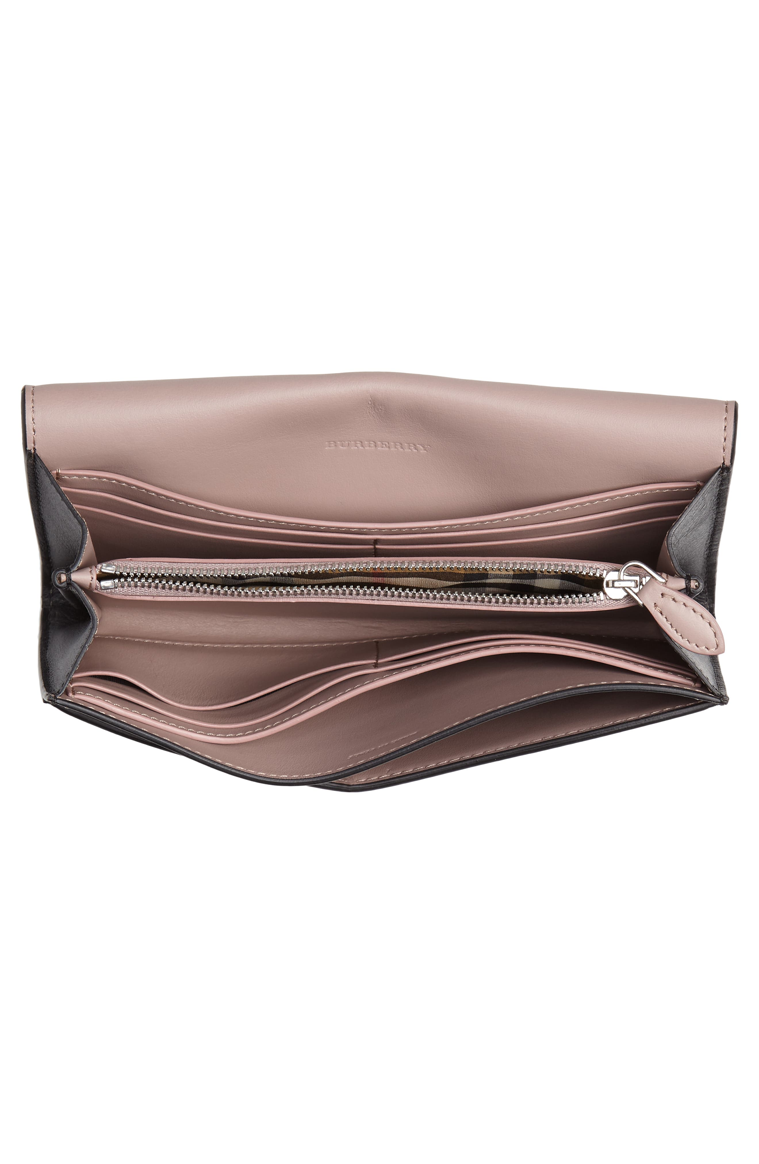 Crest Embossed Leather Clutch,                             Alternate thumbnail 4, color,                             BLACK