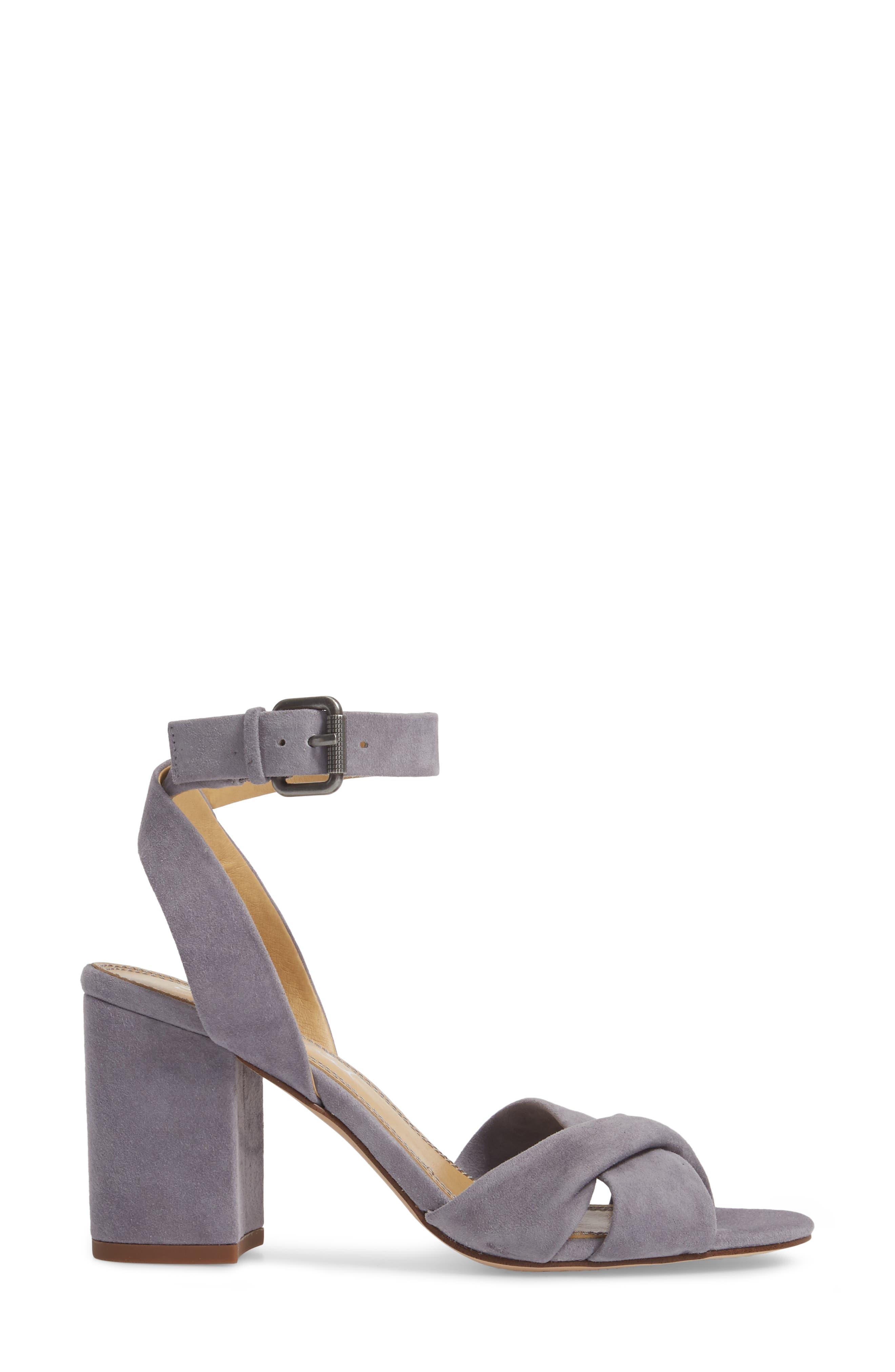 Fairy Block Heel Sandal,                             Alternate thumbnail 3, color,                             STEEL GREY SUEDE