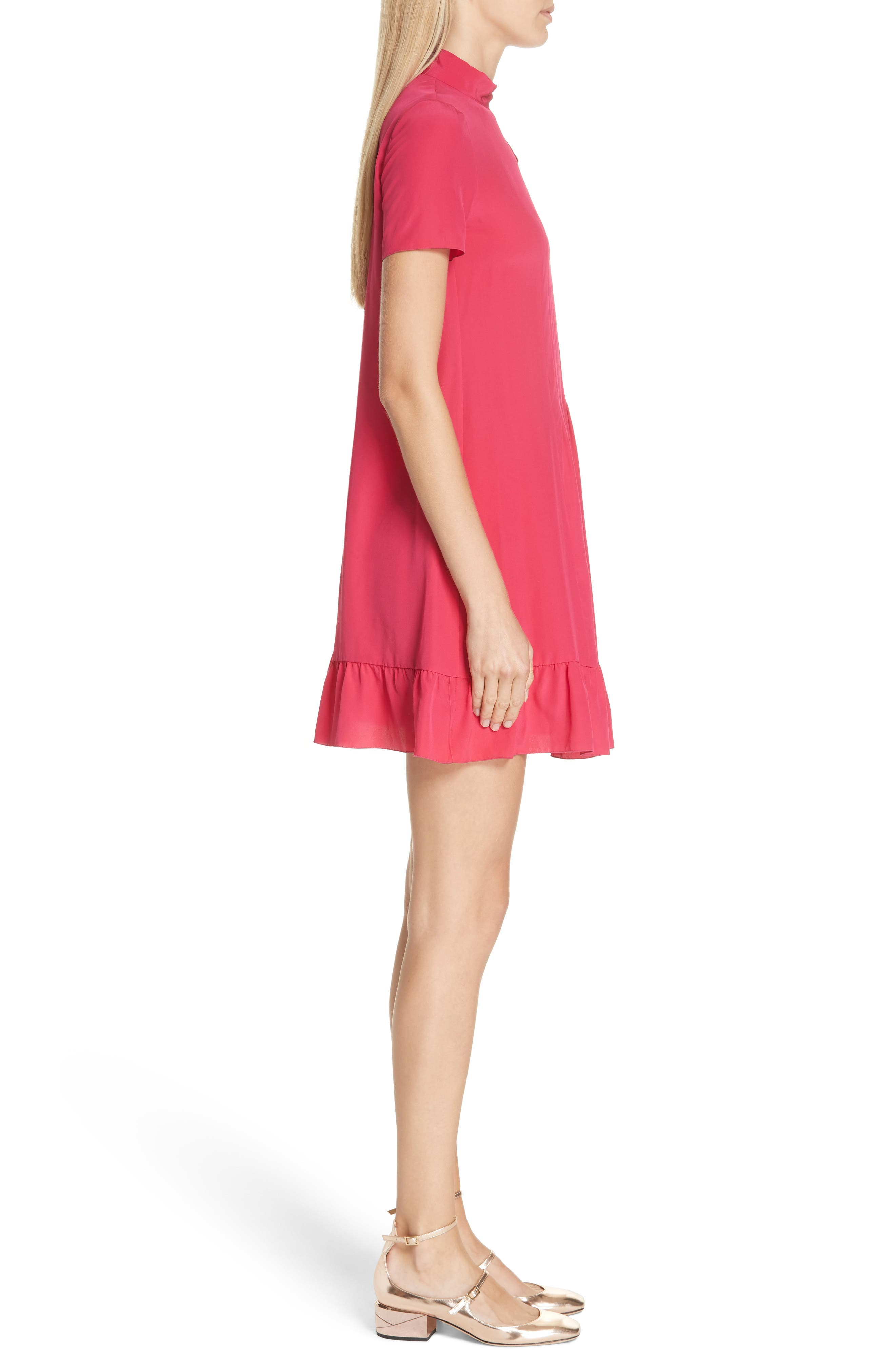 RED VALENTINO,                             Tie Neck Pleated Silk Dress,                             Alternate thumbnail 3, color,                             600