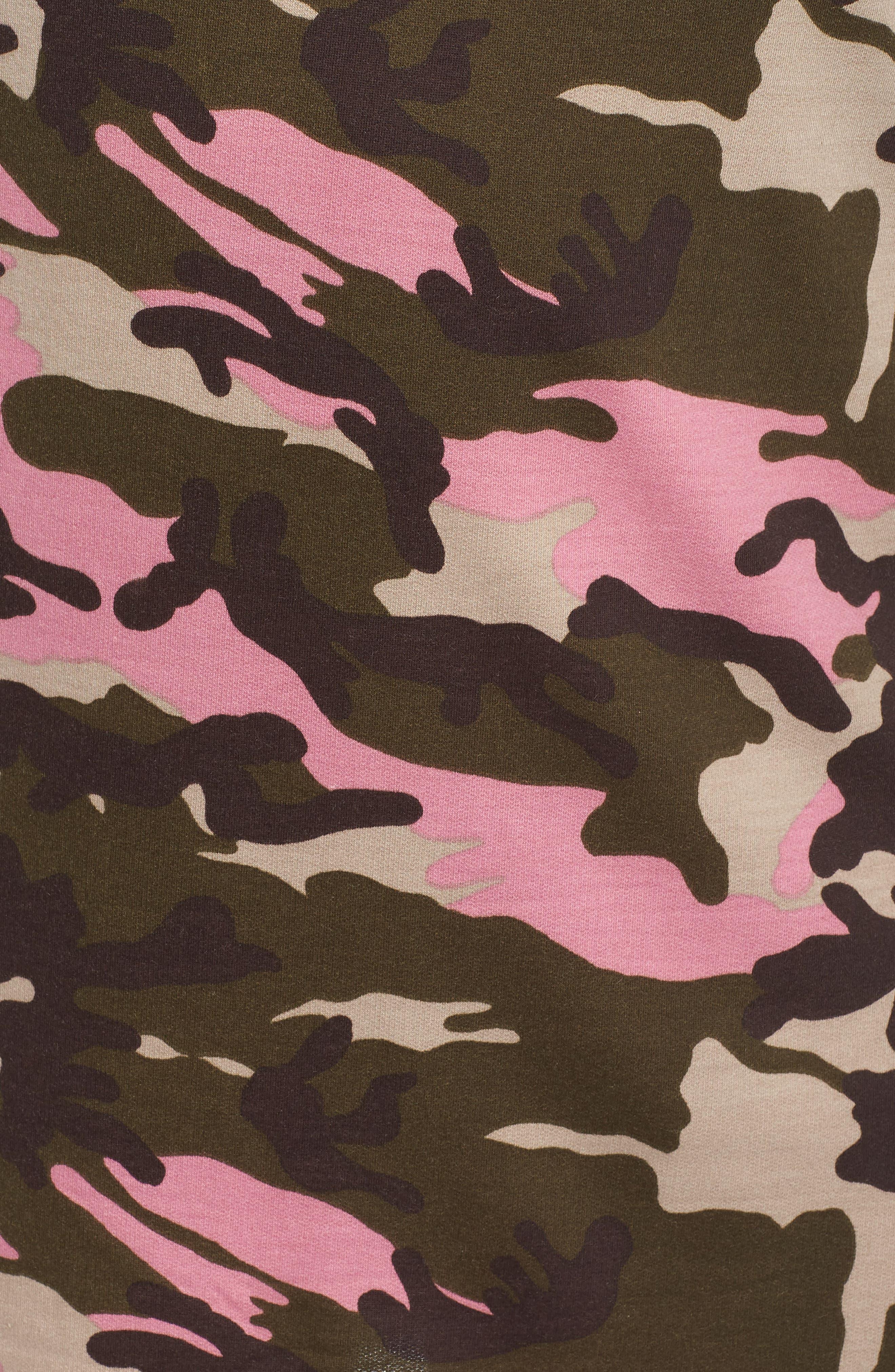 Camo T-Shirt Dress,                             Alternate thumbnail 6, color,                             PINK CAMO