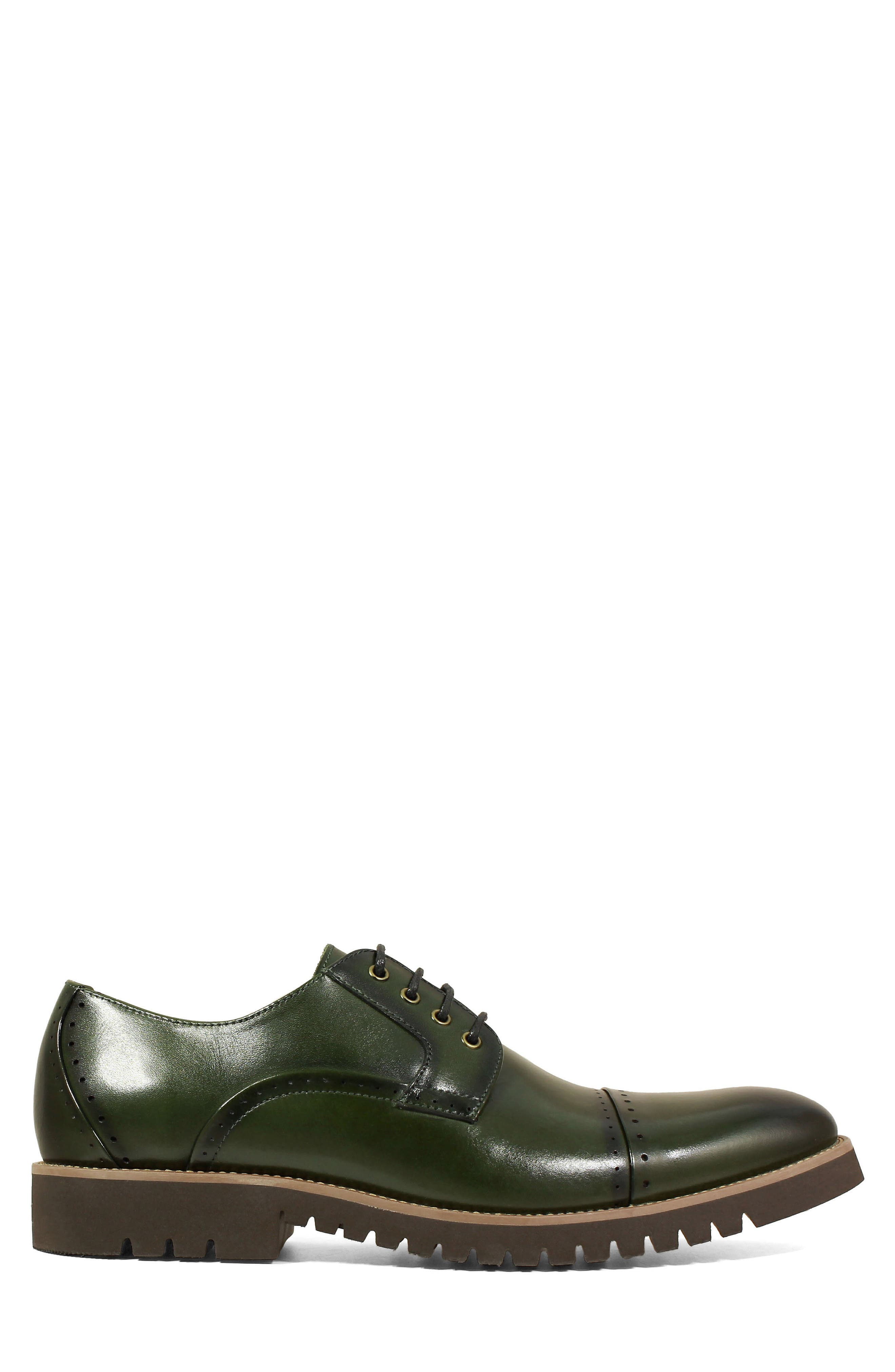 Barcliff Cap Toe Derby,                             Alternate thumbnail 3, color,                             CARGO GREEN LEATHER