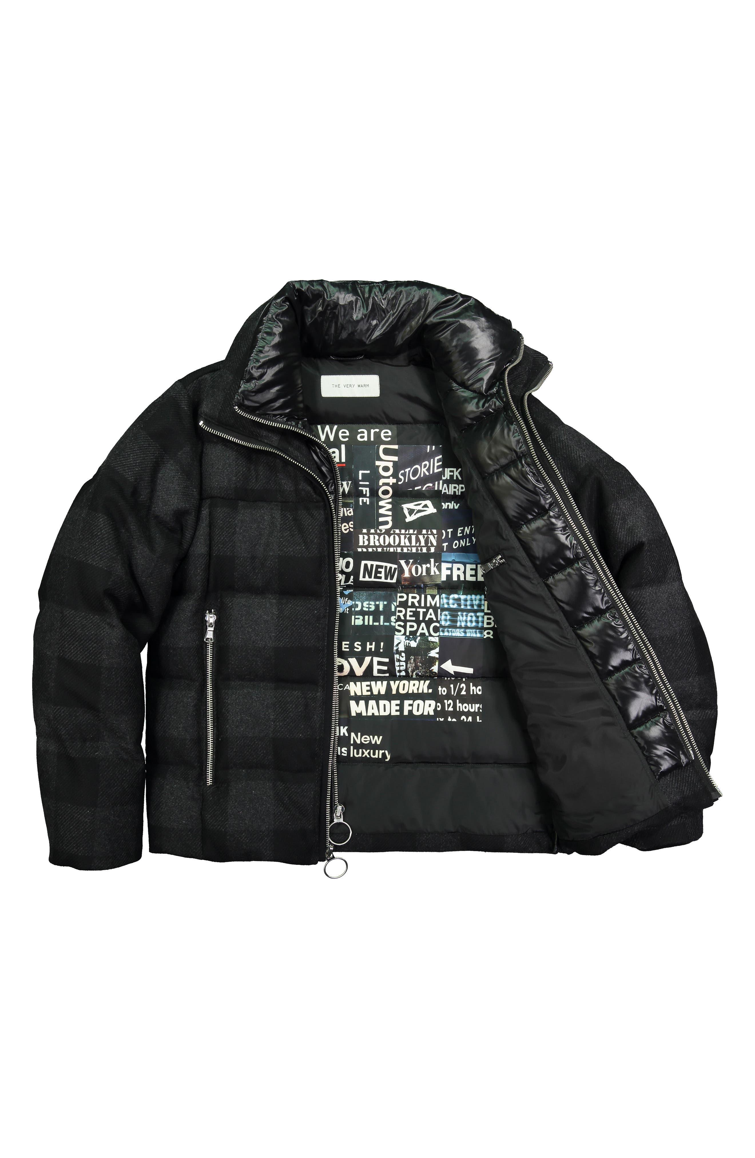 Crosby Plaid Wool Bib Puffer Jacket,                             Alternate thumbnail 6, color,                             CHARCOAL/ BLACK PLAID
