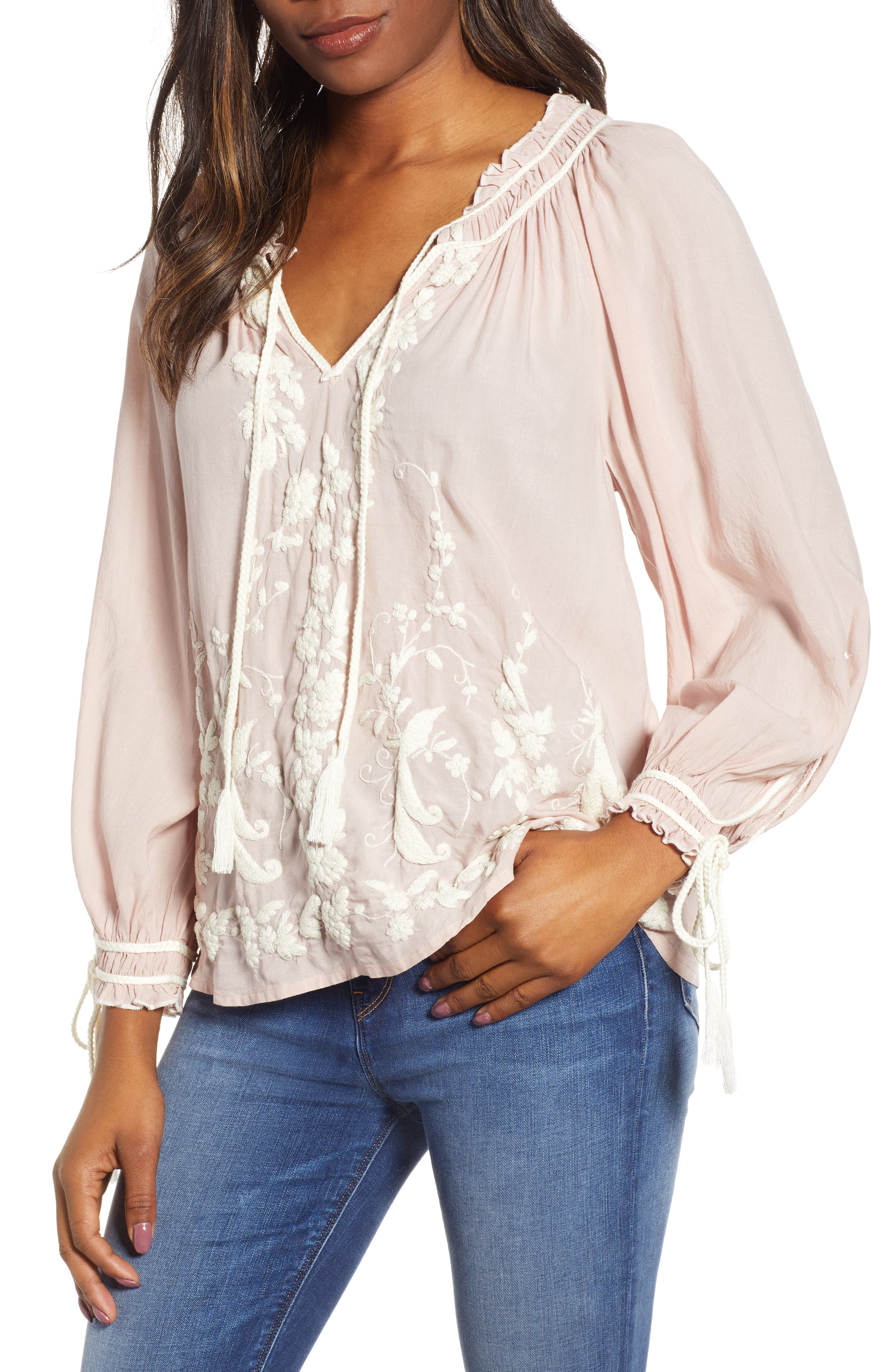 Embroidered Peasant Blouse, Main, color, 690