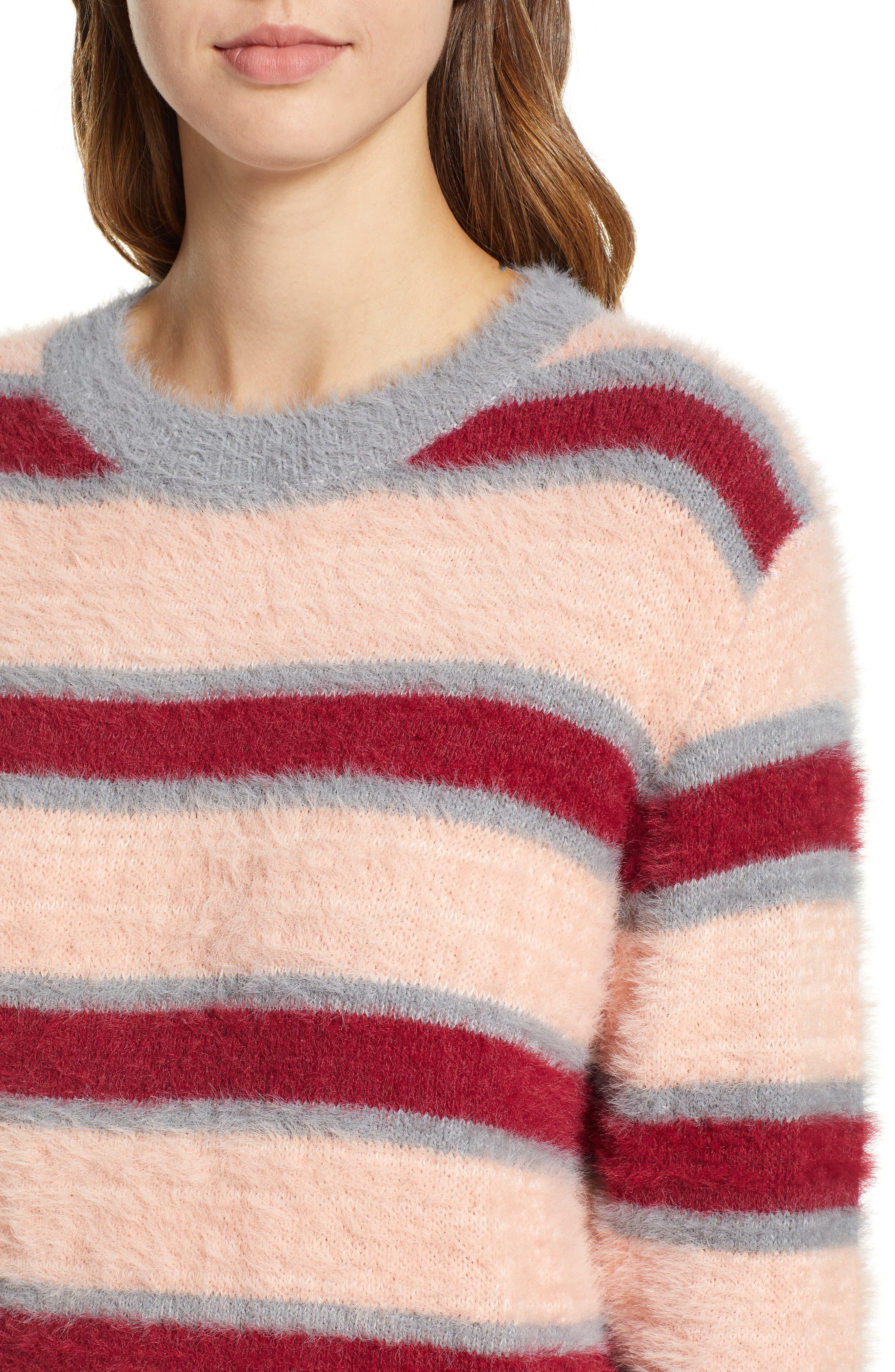 Stripe Eyelash Sweater,                             Alternate thumbnail 4, color,                             650