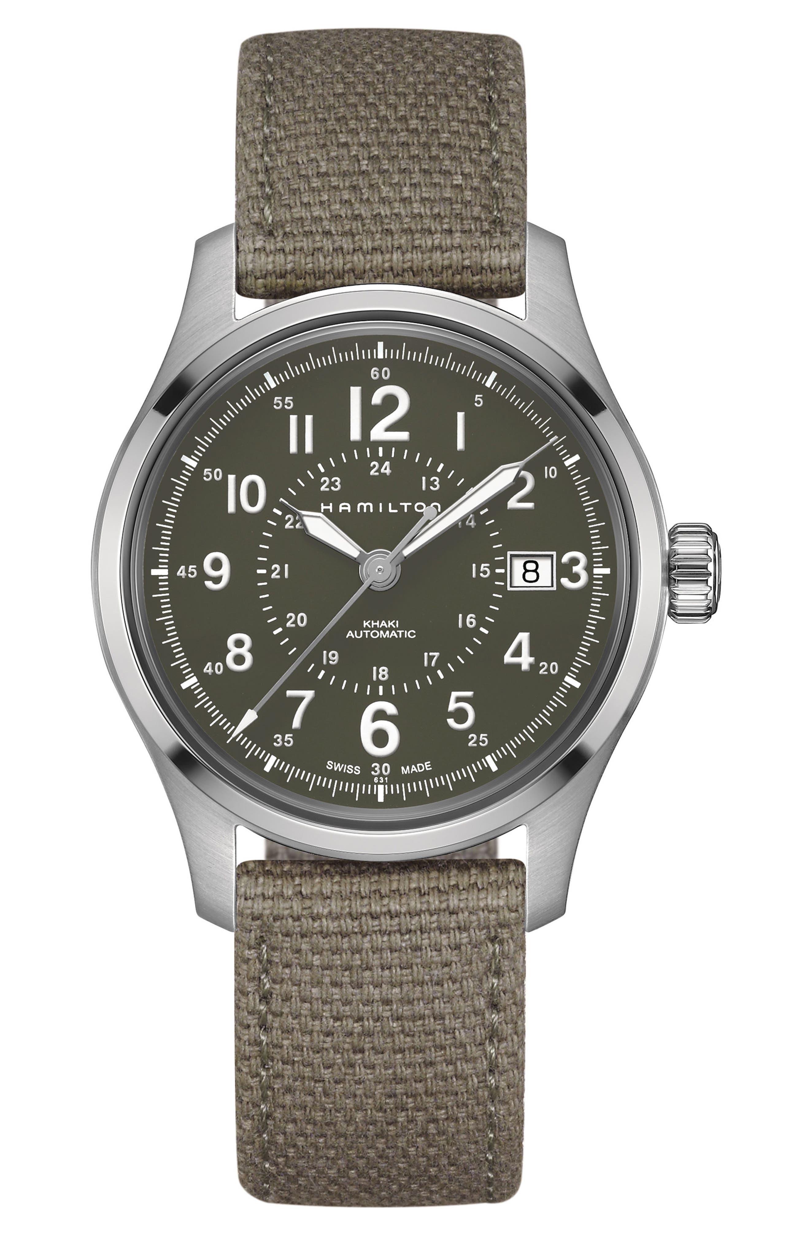 Khaki Field Automatic Canvas Strap Watch, 40mm,                             Main thumbnail 1, color,                             GREEN/ SILVER