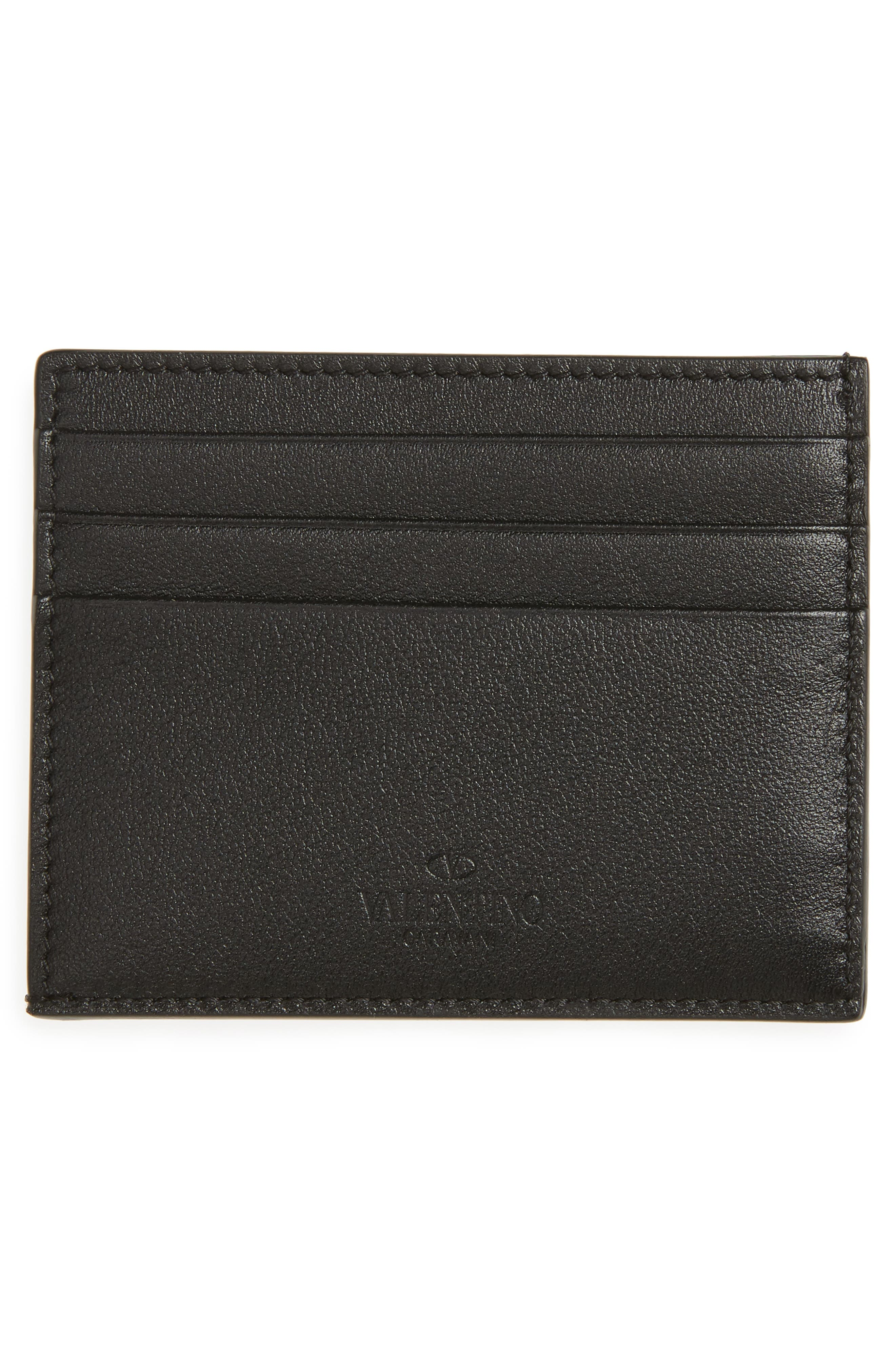GARAVANI Mini Rock Stud Leather Card Case,                             Alternate thumbnail 2, color,                             001