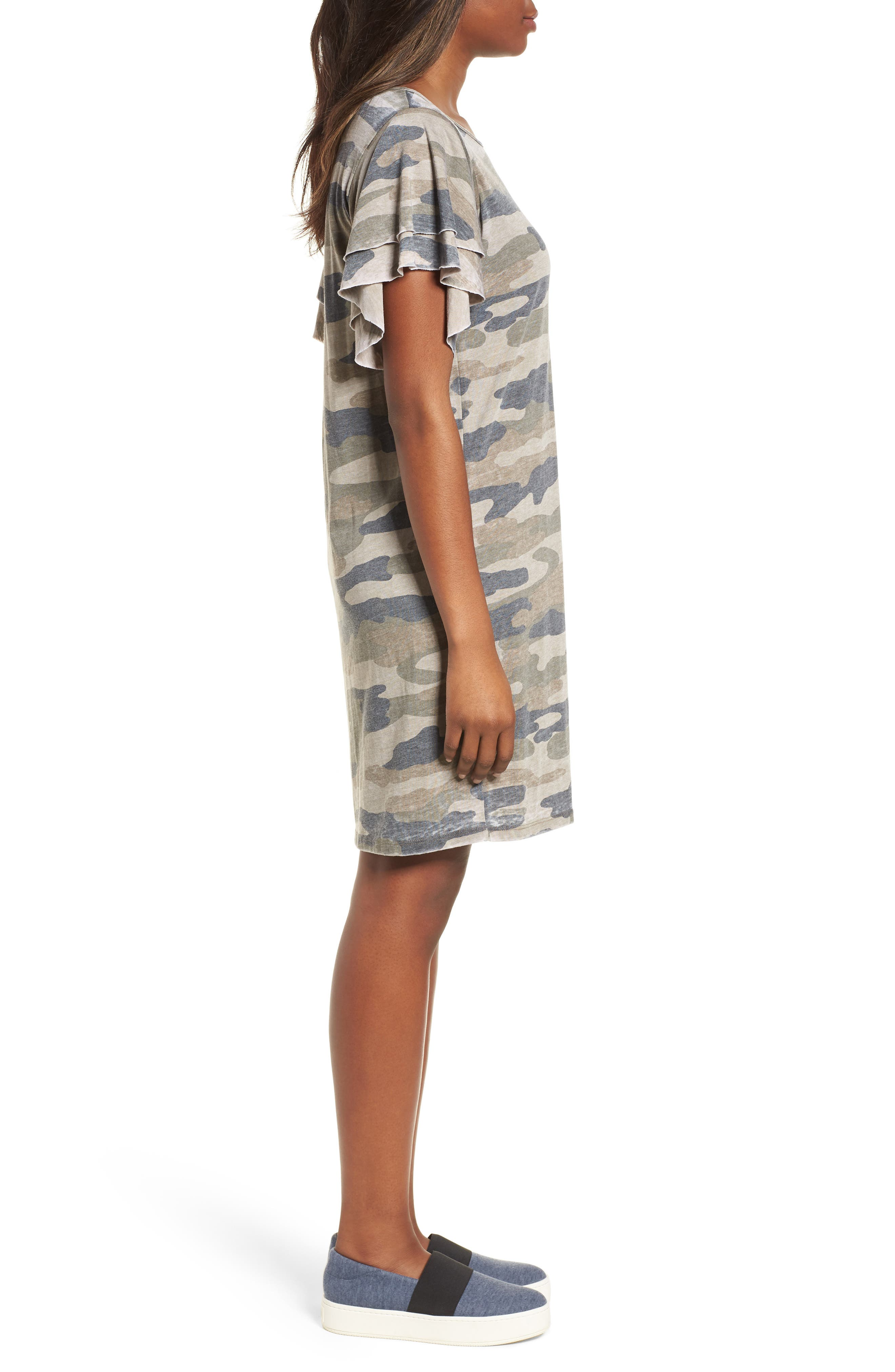 Camo Print Dress,                             Alternate thumbnail 3, color,                             310