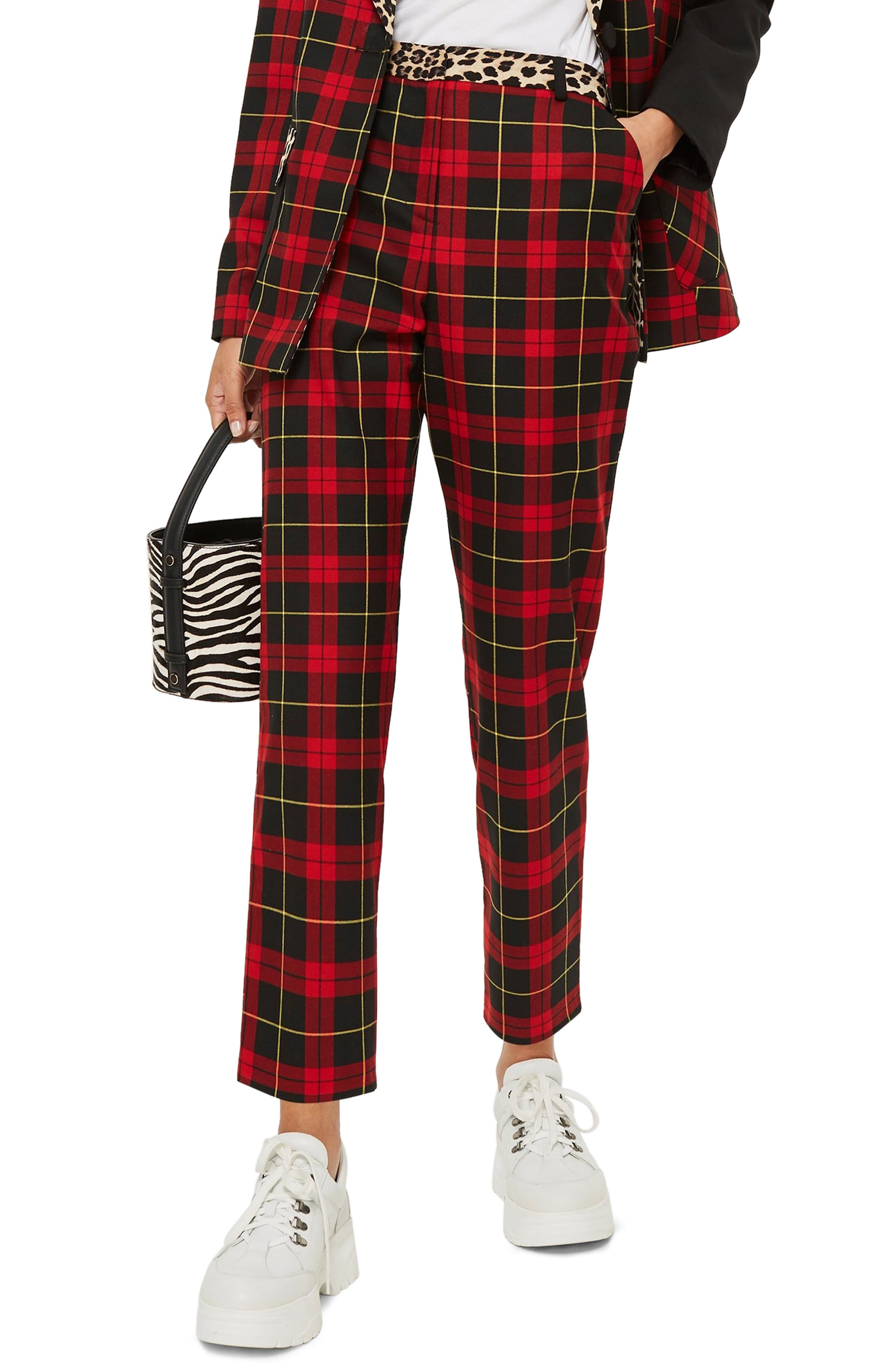 Leopard Trim Tartan Trousers,                             Main thumbnail 1, color,                             600