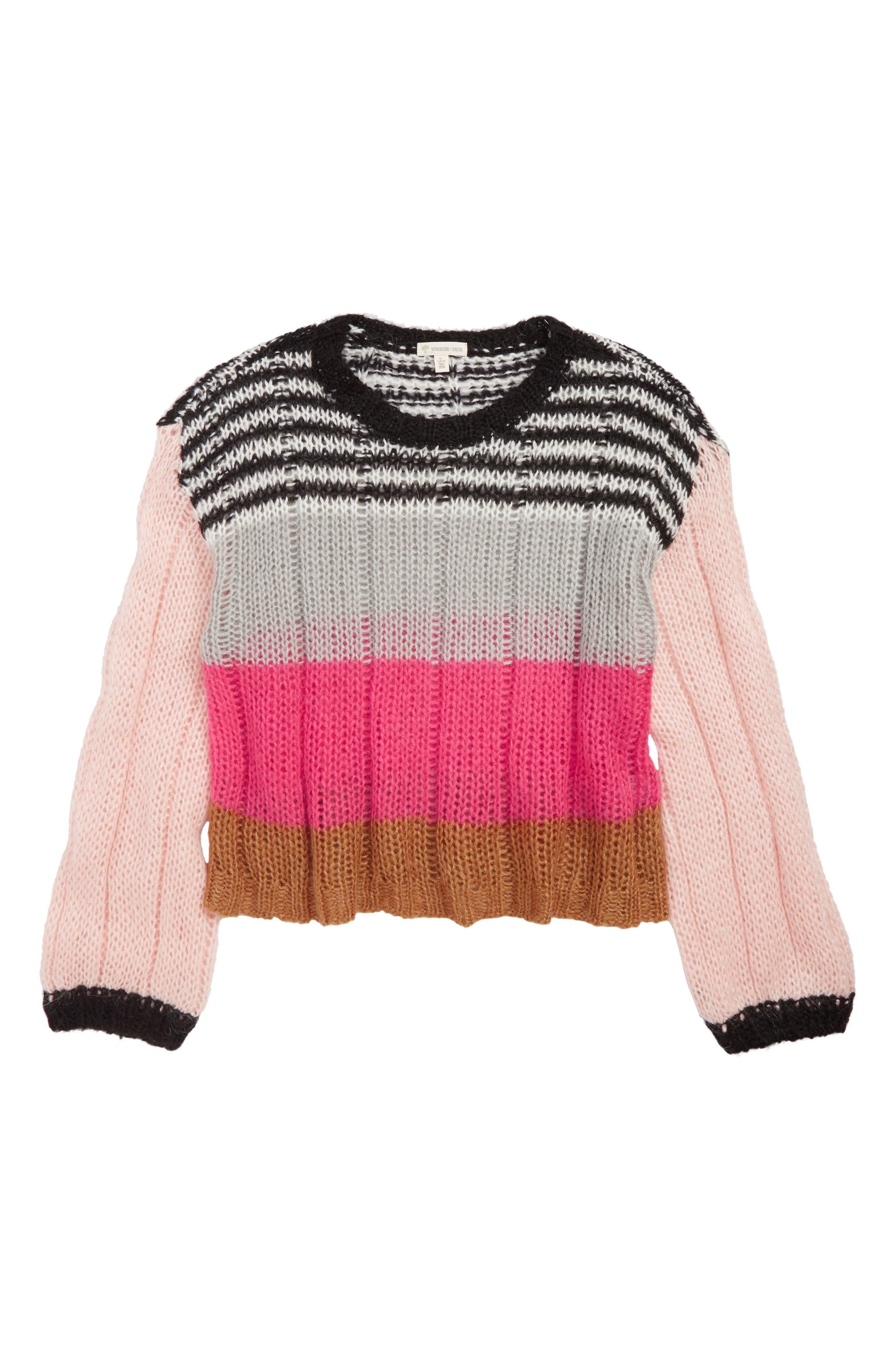 Bubble Sleeve Stripe Sweater,                             Main thumbnail 1, color,                             680