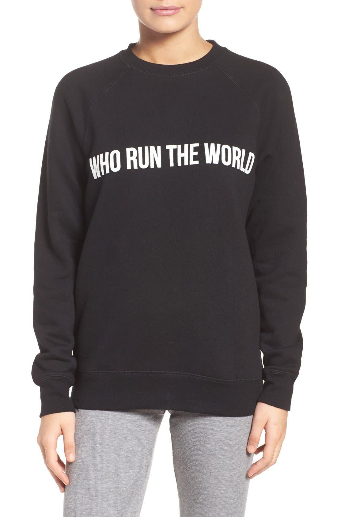 Who Run the World Sweatshirt,                             Main thumbnail 1, color,