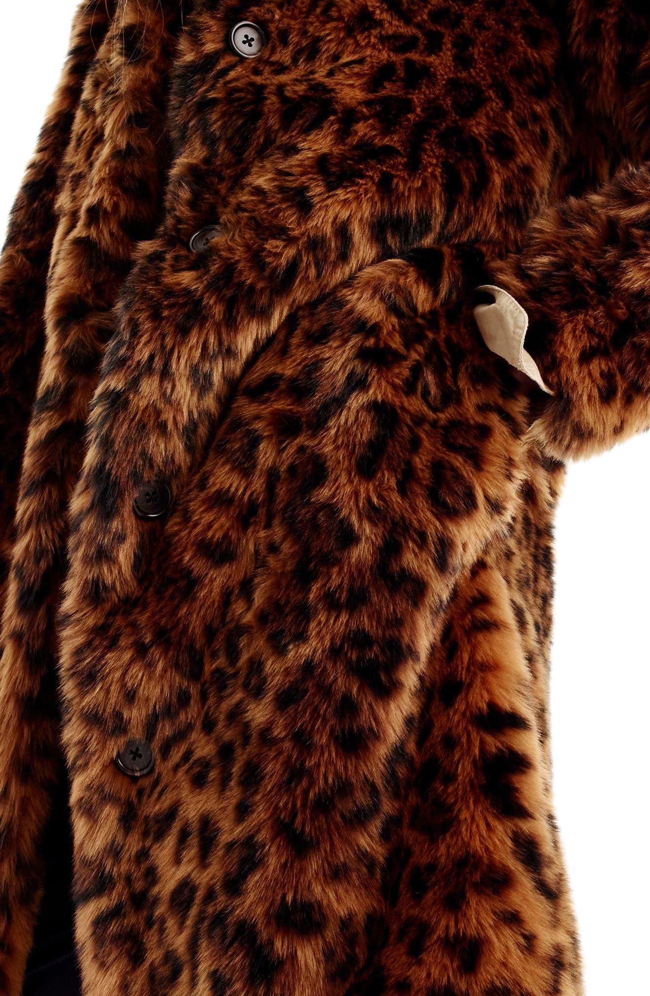 Leopard Print Faux Fur Coat,                             Alternate thumbnail 4, color,                             LEOPARD
