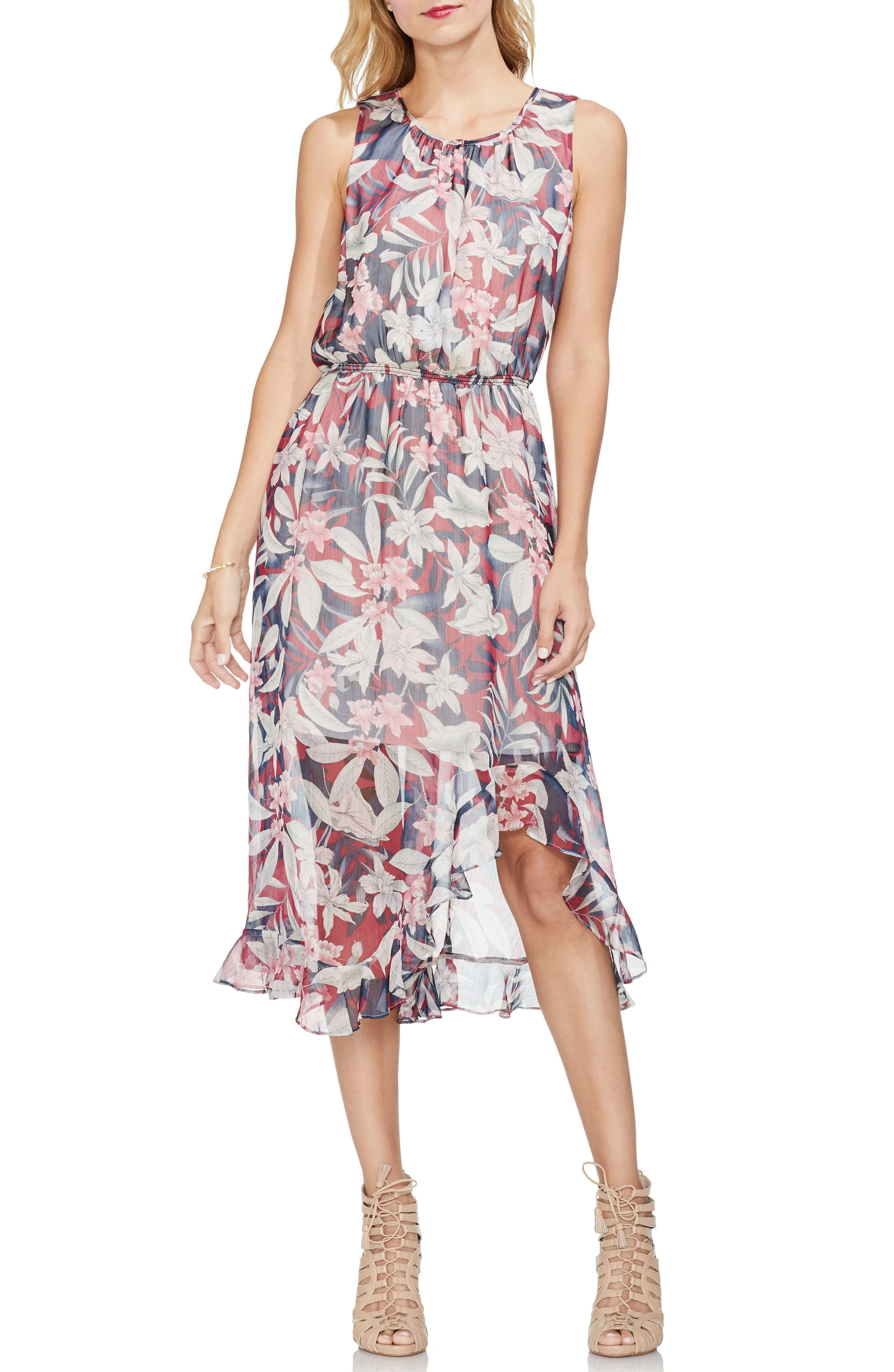 Vince Camuto Cinch Waist Tropescape Dress, Red