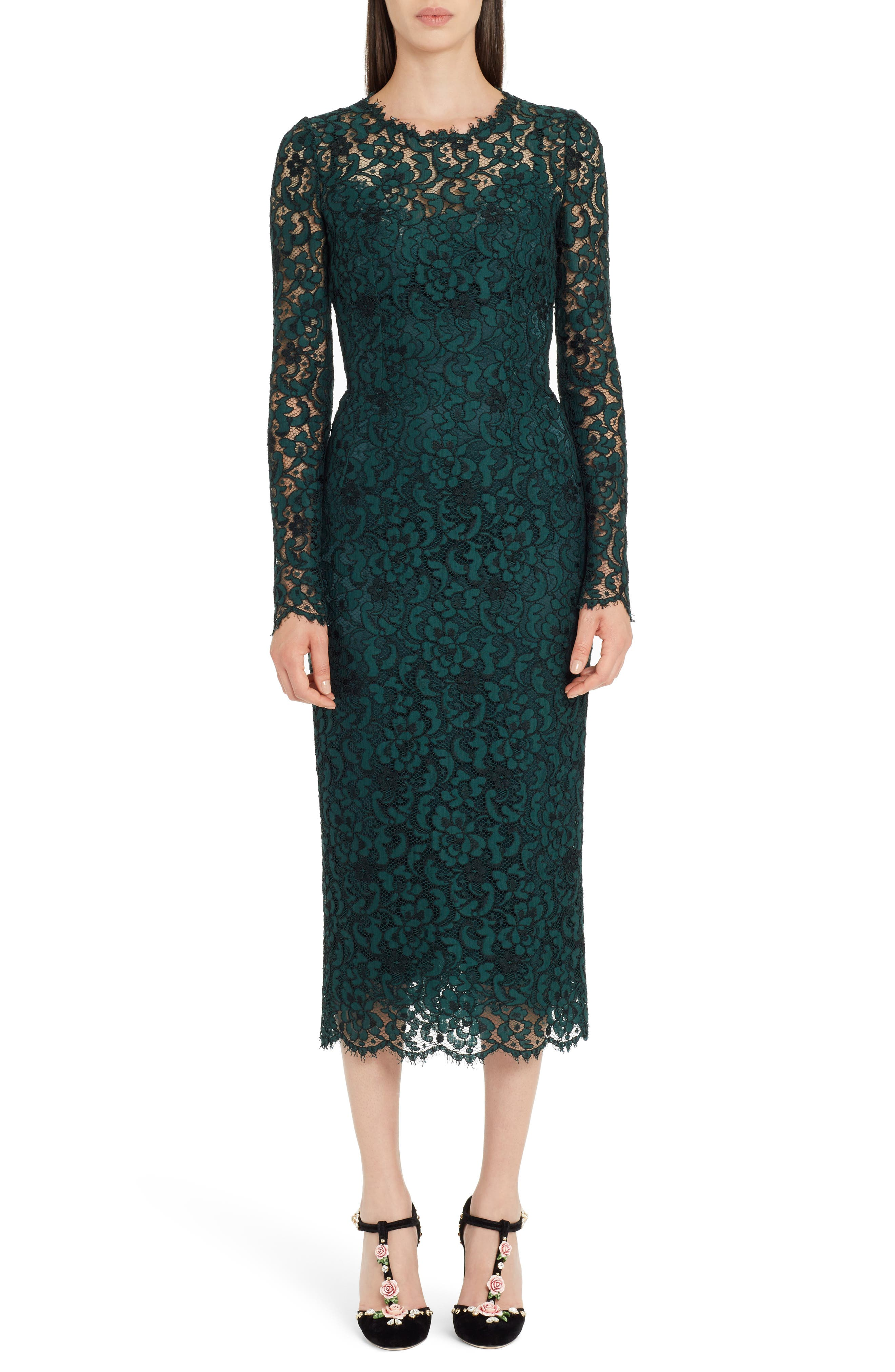 Dolce & gabbana Lace Pencil Dress, 8 IT - Green