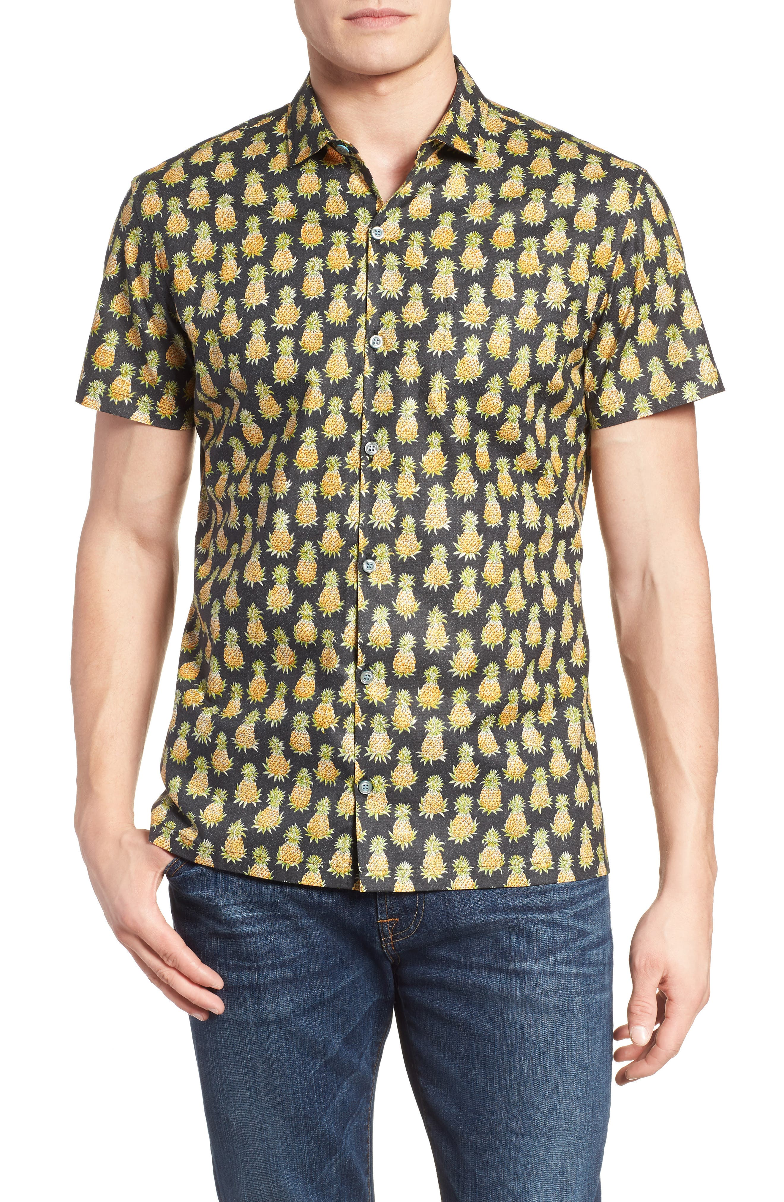 Pineaplism Trim Fit Camp Shirt,                         Main,                         color, BLACK