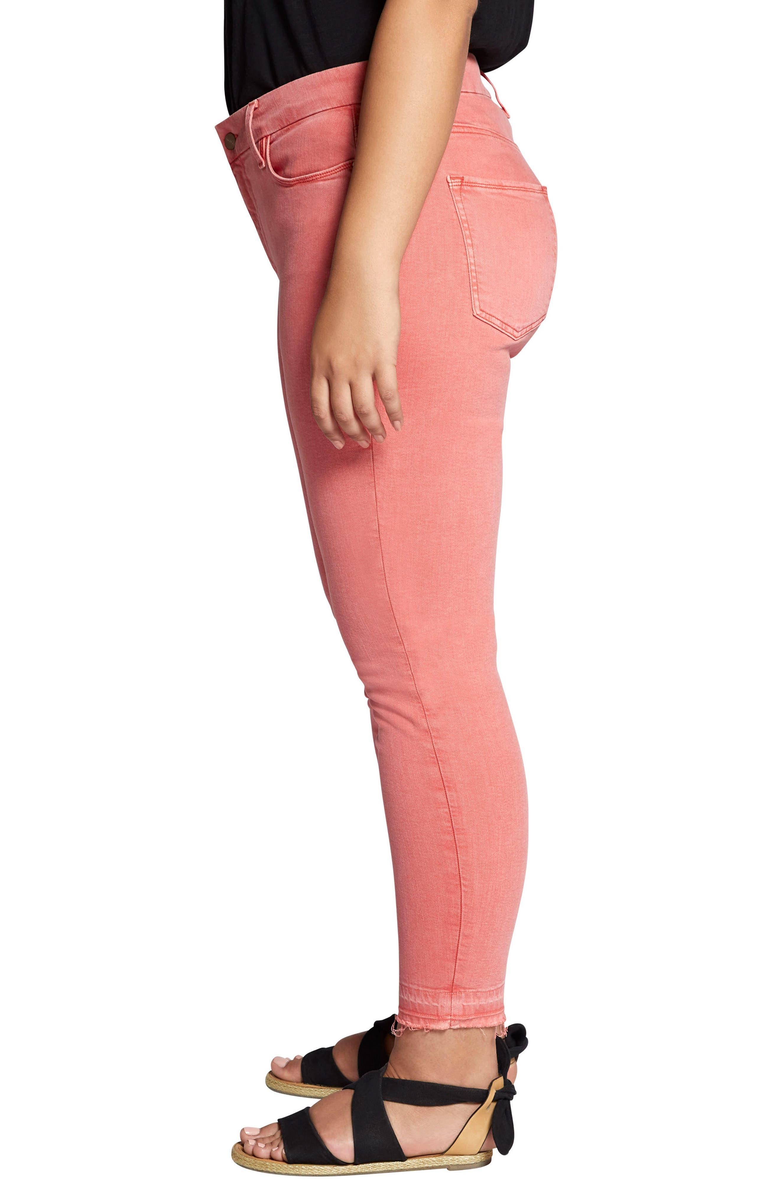 Saige Release Hem Curvy Fit Skinny Jeans,                             Alternate thumbnail 3, color,                             CHILI WASH