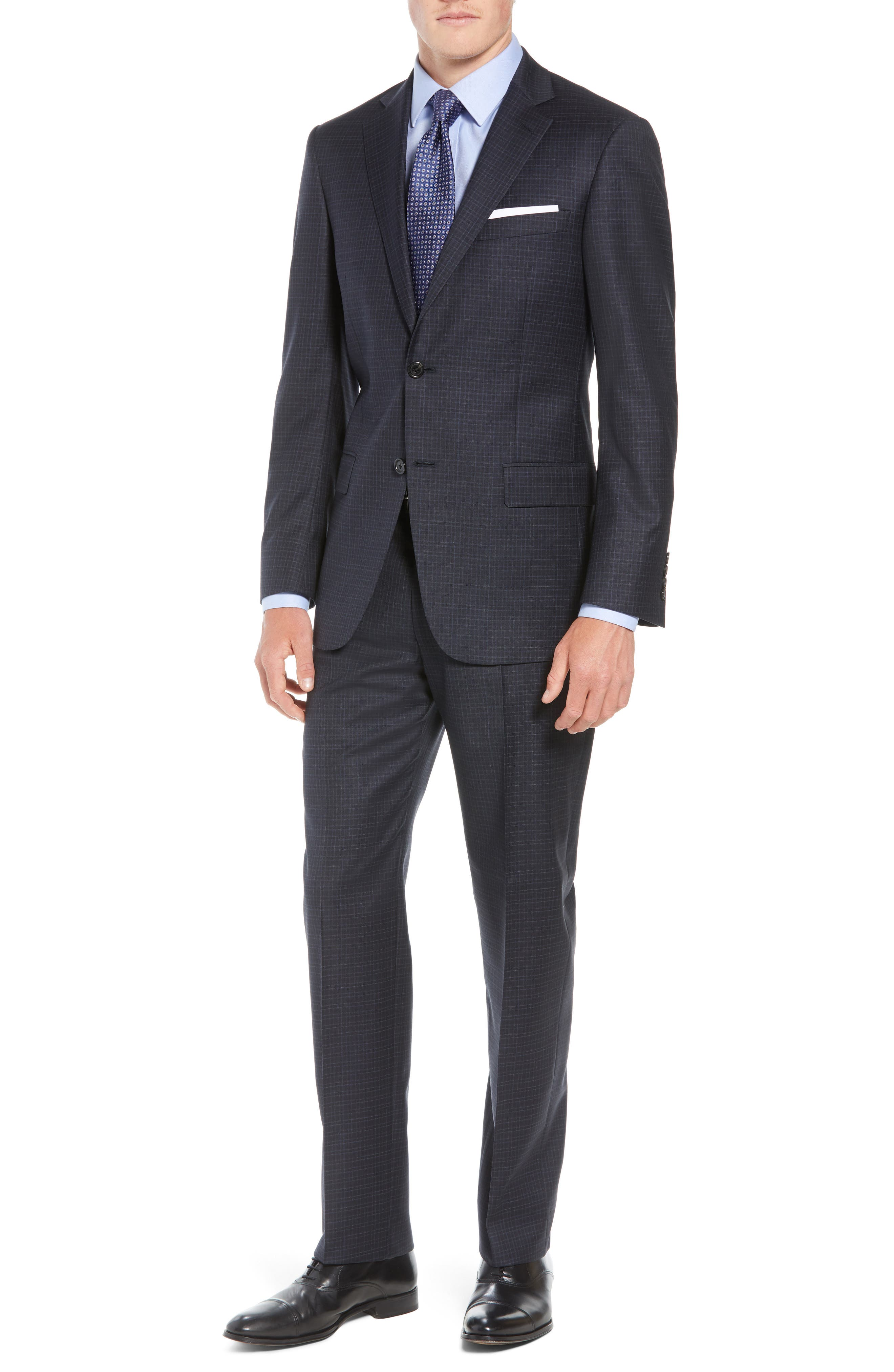 New York Classic Fit Check Wool Suit,                         Main,                         color, NAVY