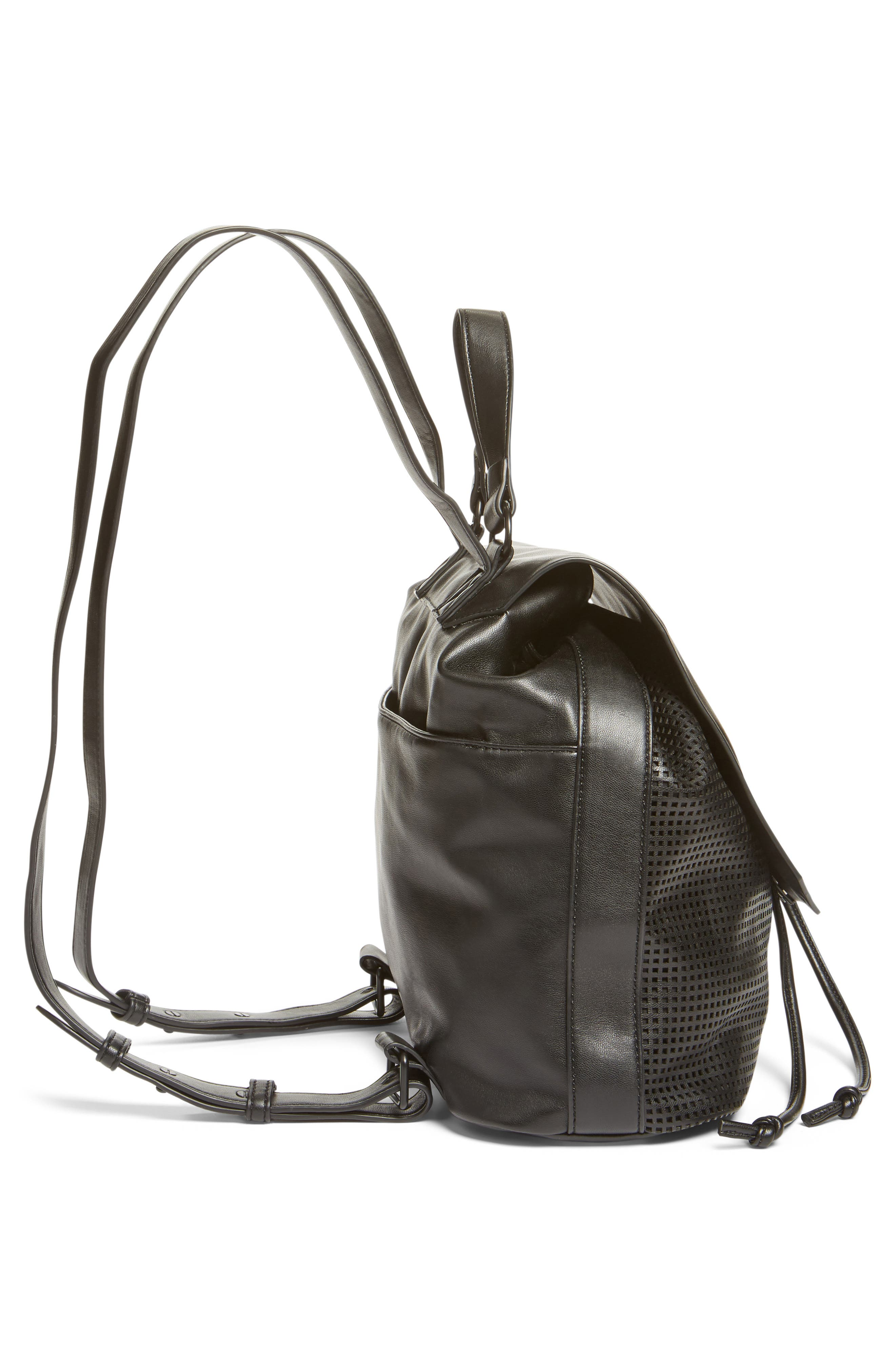 Perforated Faux Leather Backpack,                             Alternate thumbnail 5, color,                             001