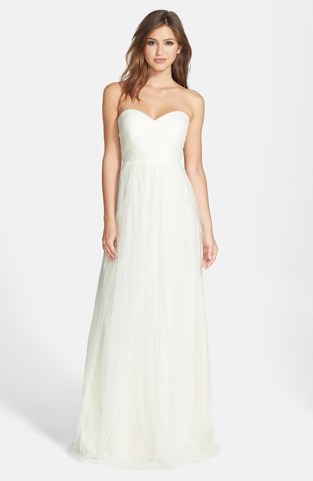 Jenny Yoo Annabelle Convertible Tulle Column Dress, Ivory