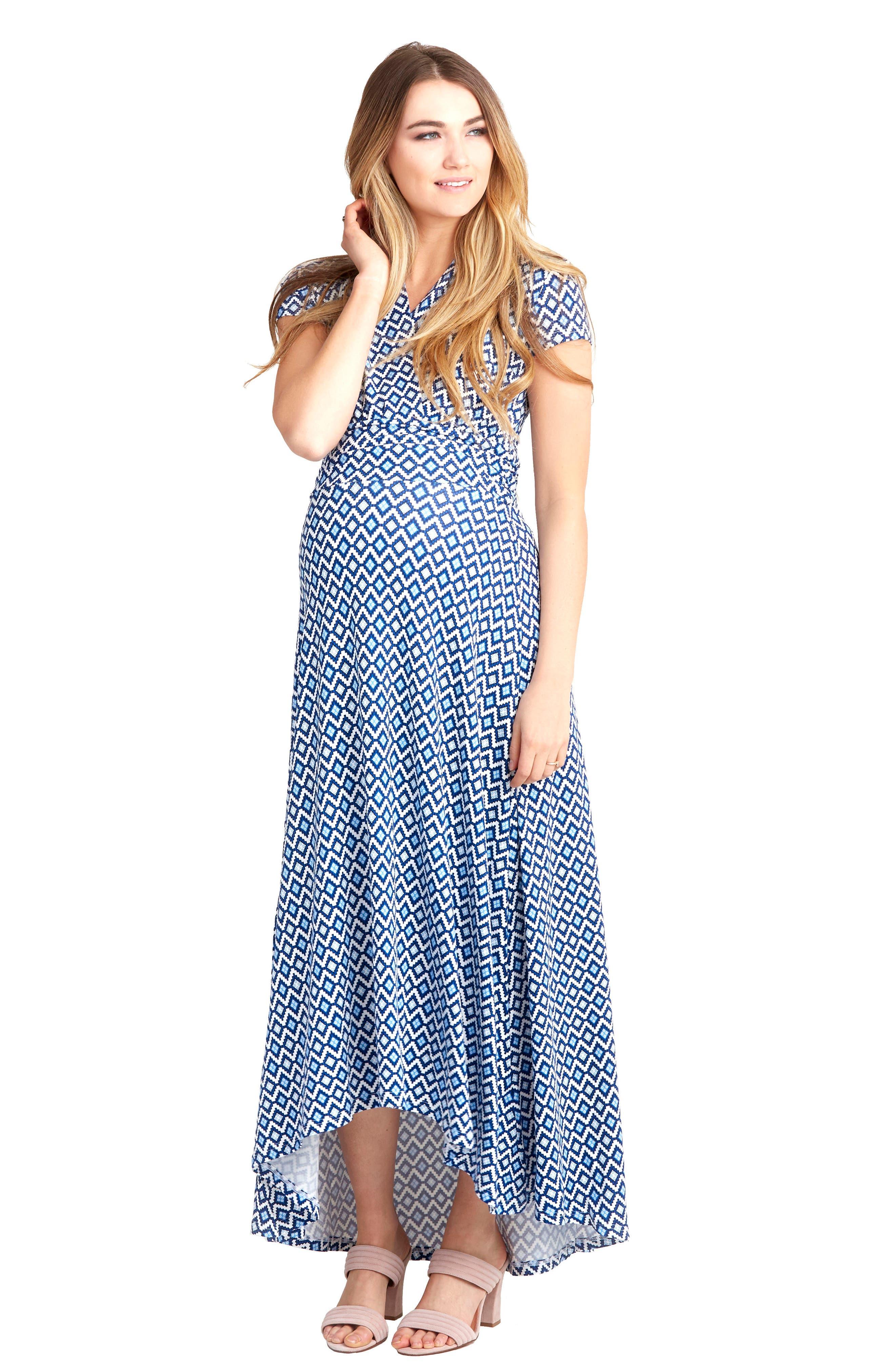 'Caroline' Maternity/Nursing Maxi Dress,                             Alternate thumbnail 5, color,                             BLUEBELL