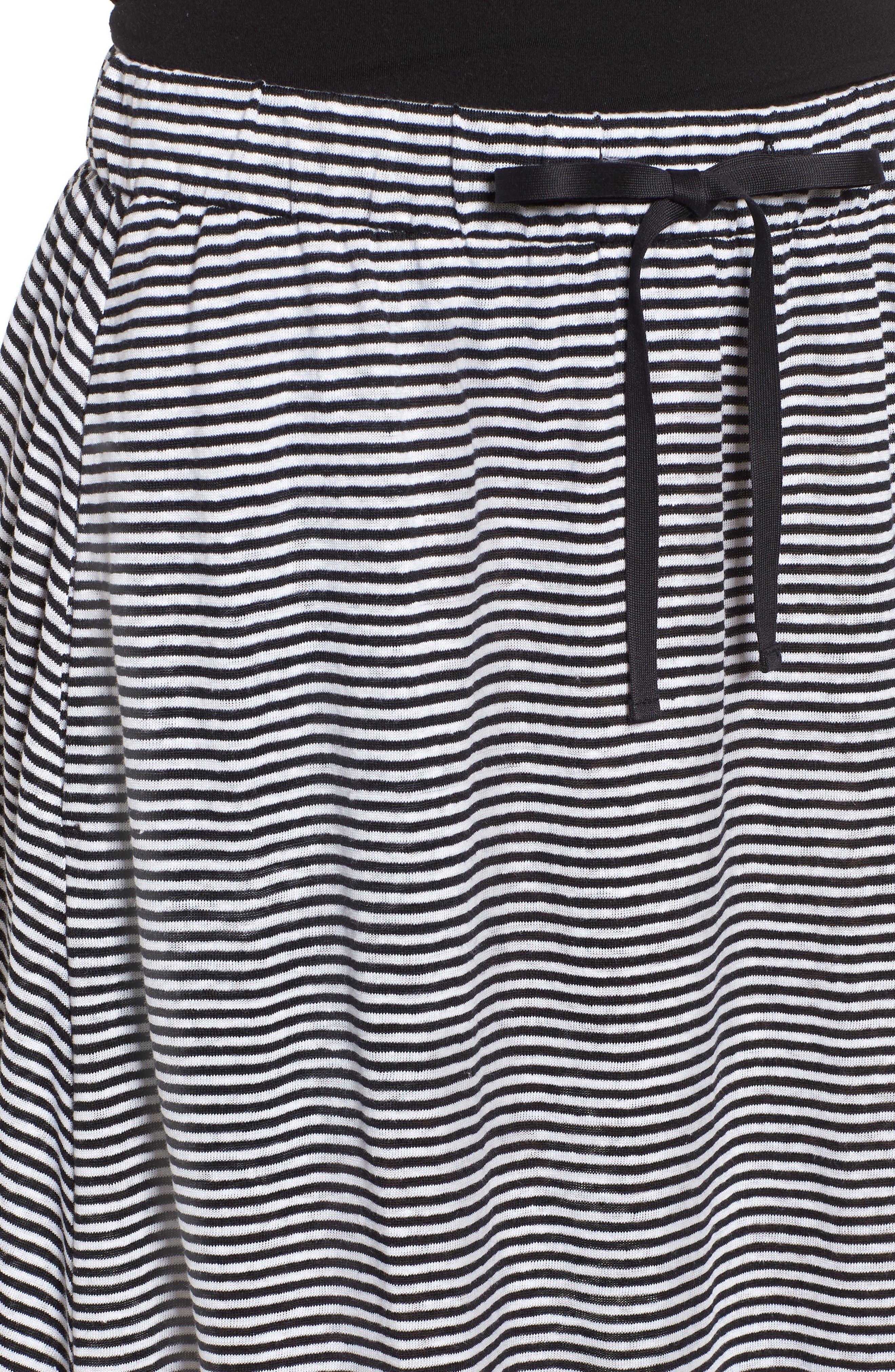 Flared Stripe Organic Linen Skirt,                             Alternate thumbnail 7, color,