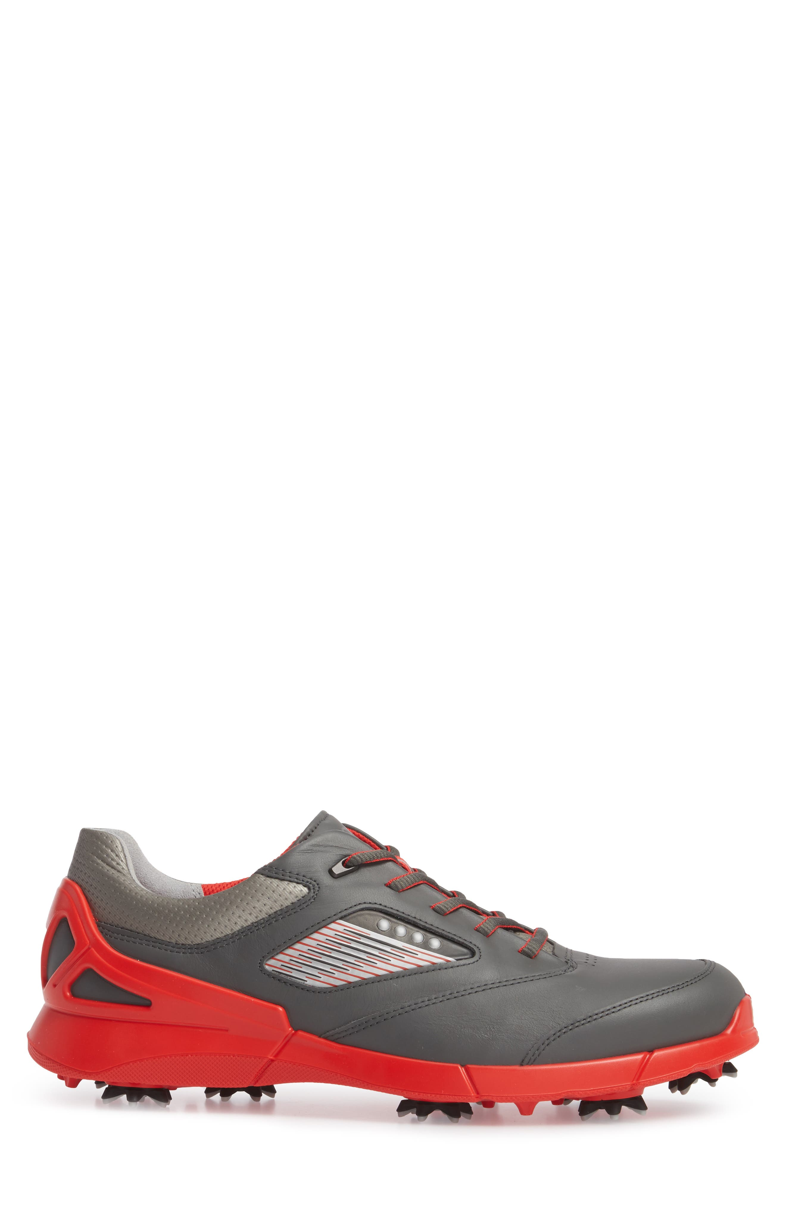 Base One Golf Shoe,                             Alternate thumbnail 3, color,                             BLACK/ SCARLET LEATHER