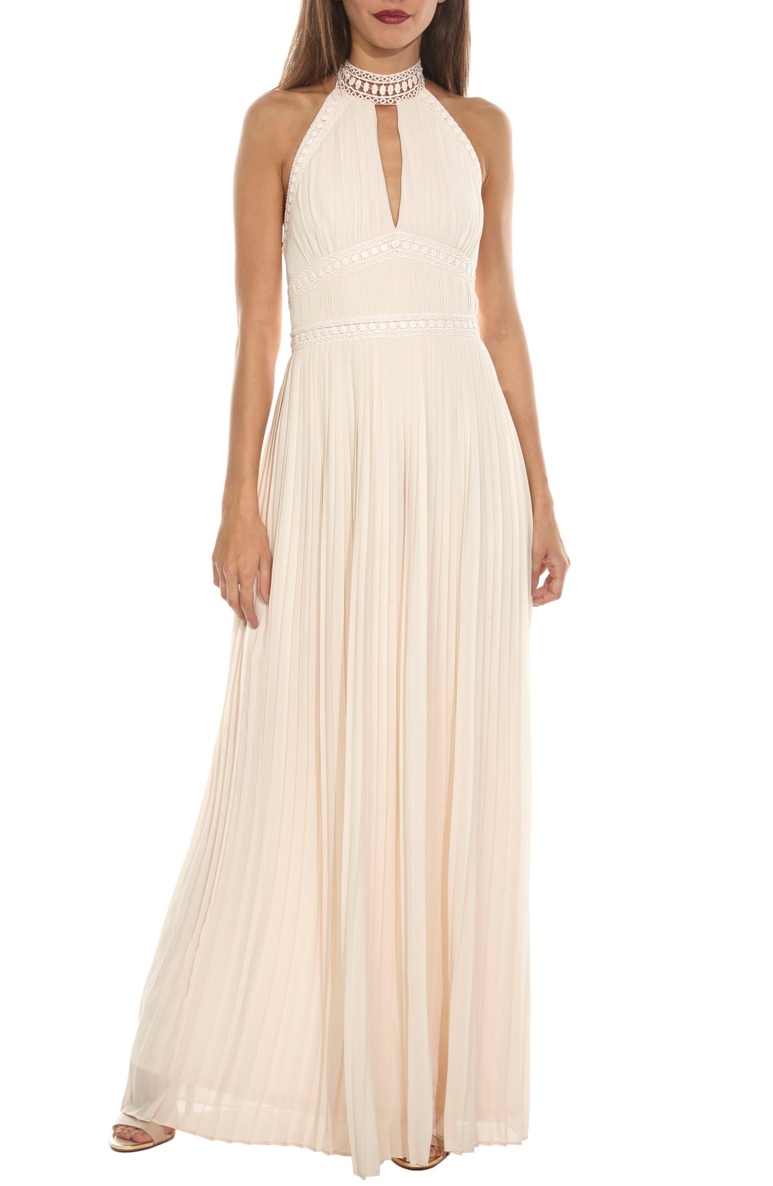 Corinne Lace Trim Halter Maxi Dress,                             Alternate thumbnail 5, color,                             280