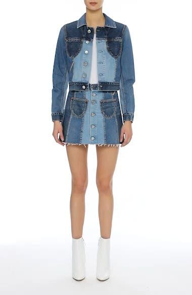 Eloise High Rise Denim Miniskirt, video thumbnail