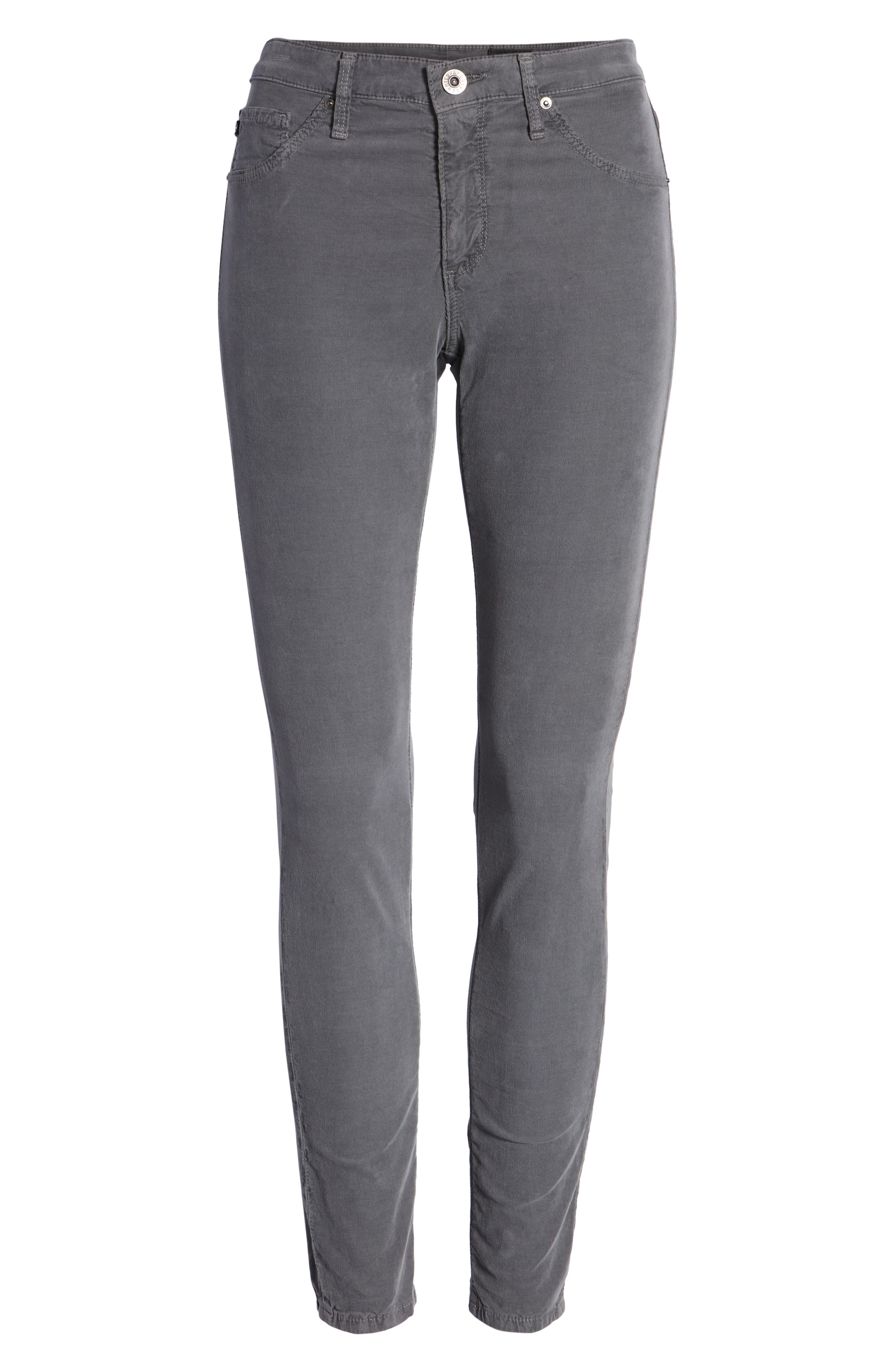 The Farrah High Waist Skinny Corduroy Pants,                             Alternate thumbnail 7, color,                             SULFUR AUTUMN FOG
