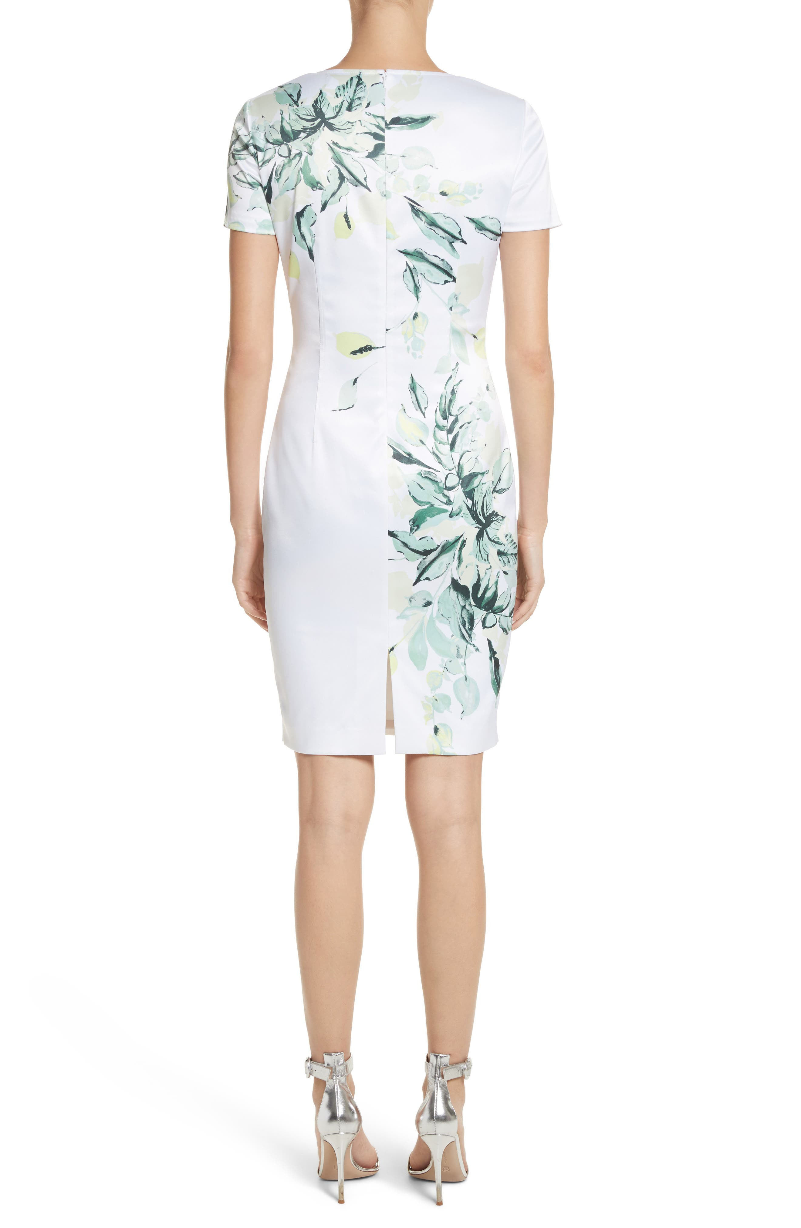 Leaf Print Sheath Dress,                             Alternate thumbnail 2, color,