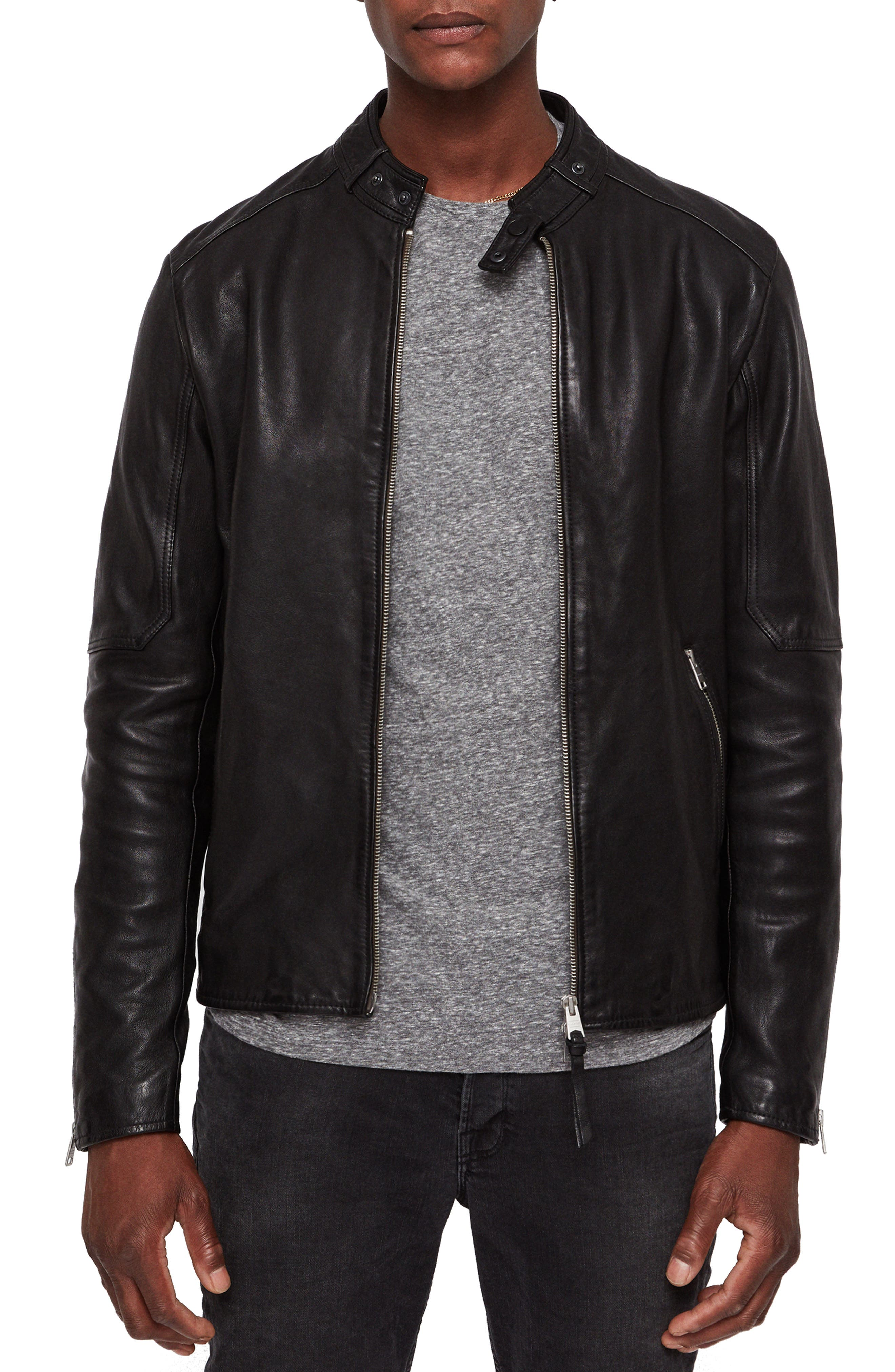 Cora Leather Jacket,                         Main,                         color, 003