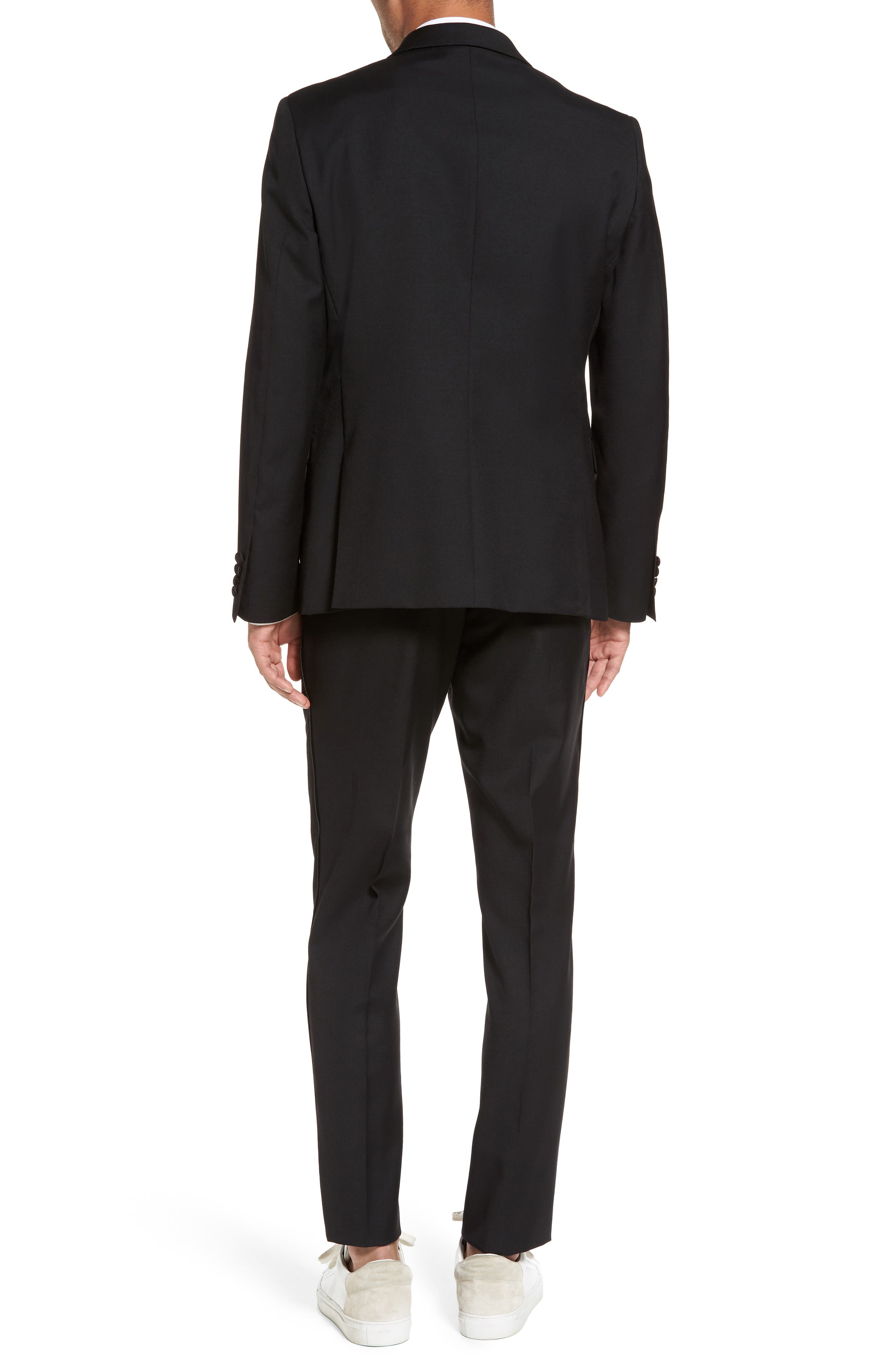 Trim Fit Wool Blend Tuxedo,                             Alternate thumbnail 2, color,                             BLACK