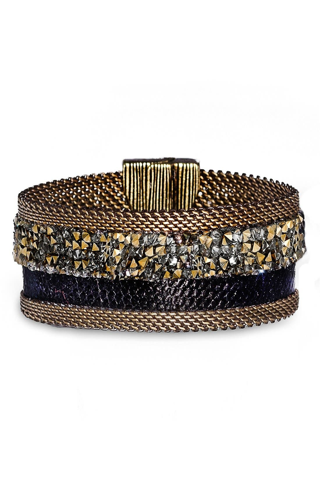 Genuine Snakeskin Cuff,                         Main,                         color, 001